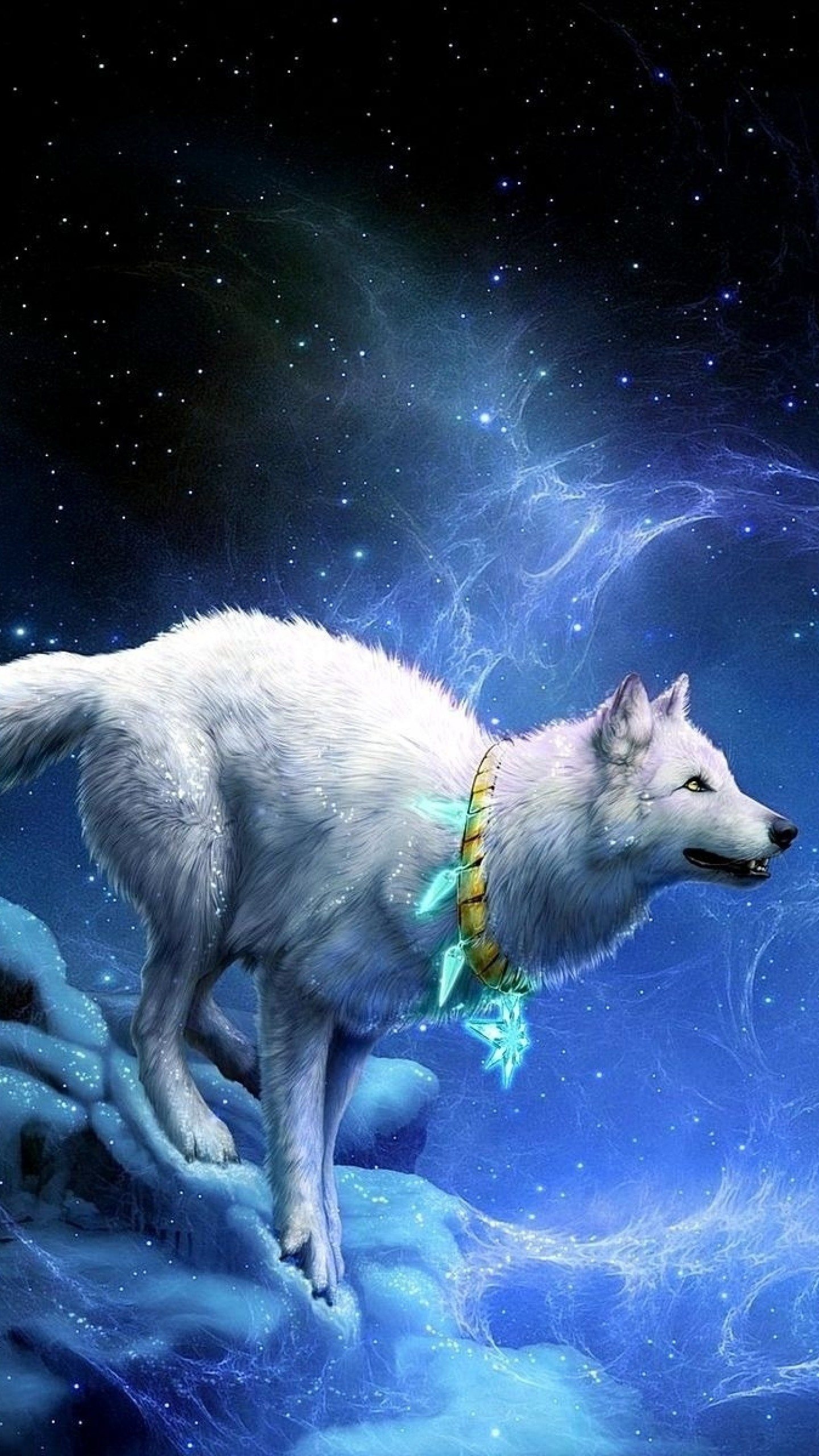 1440x2560 Preview wallpaper wolf, arrivals, moon, breakage