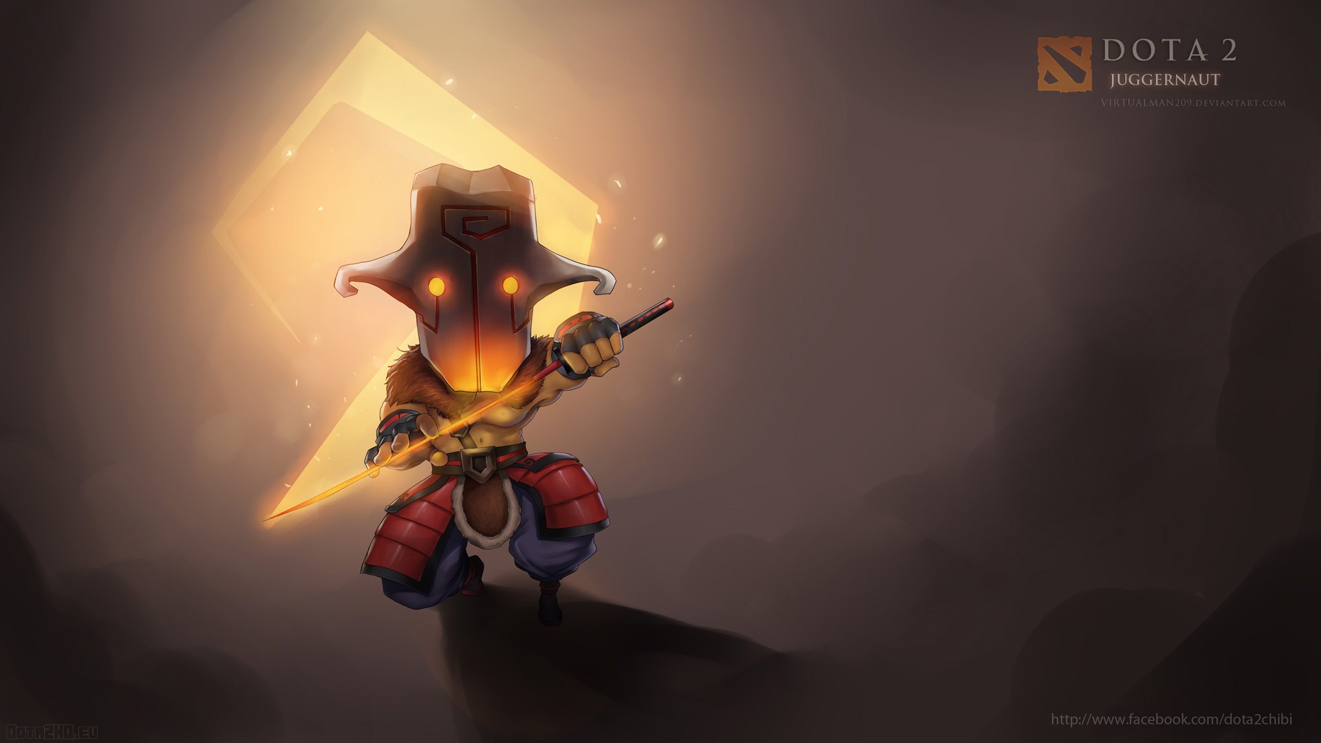 1920x1080 Preview wallpaper juggernaut, dota 2, chibi