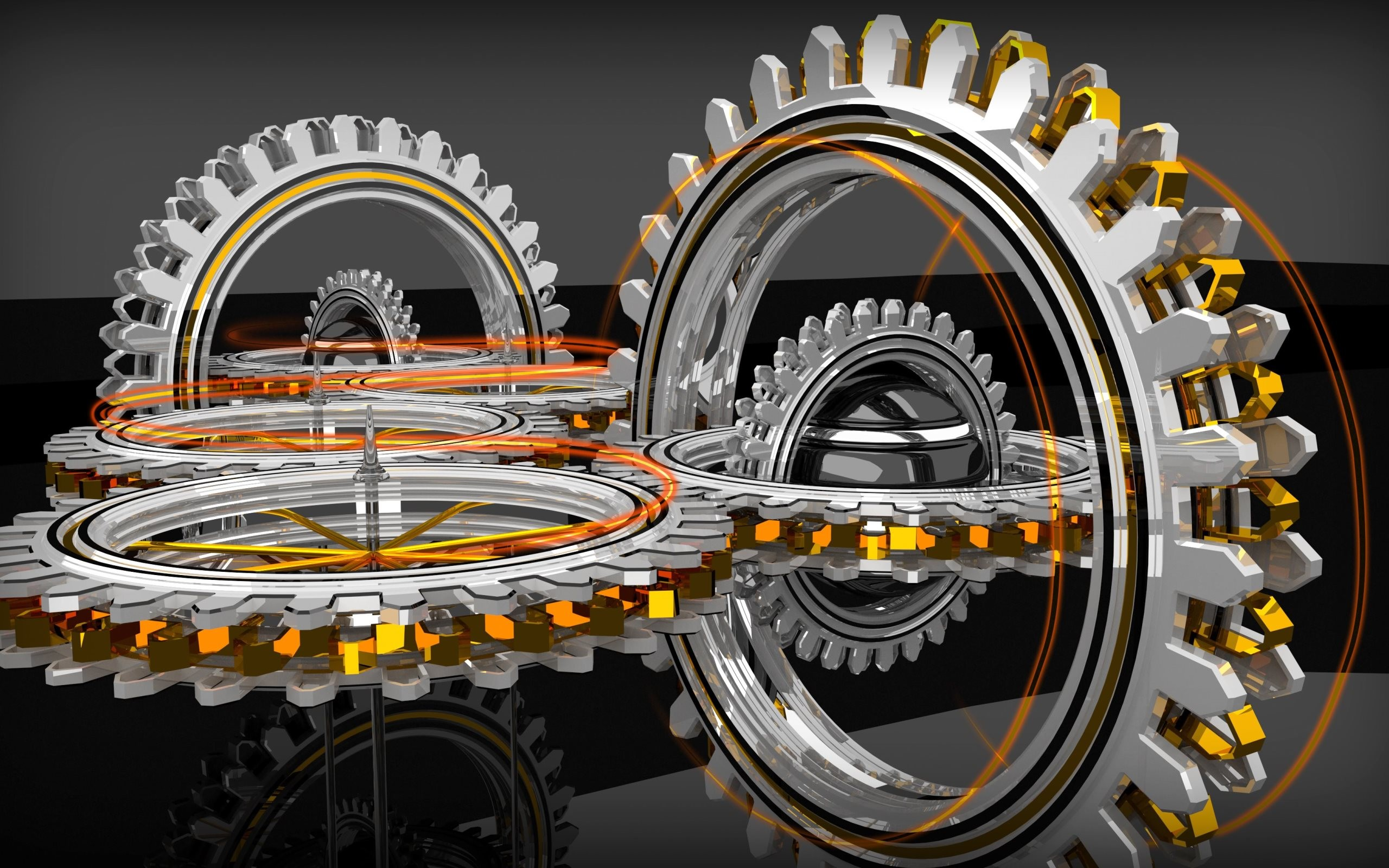 2560x1600 4K HD Wallpaper 3: Abstract 3D Concentric Gears