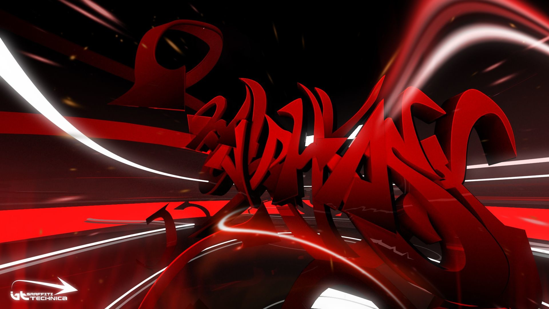 1920x1080 Abstract Art Black and White Red Wallpaper Cool HD