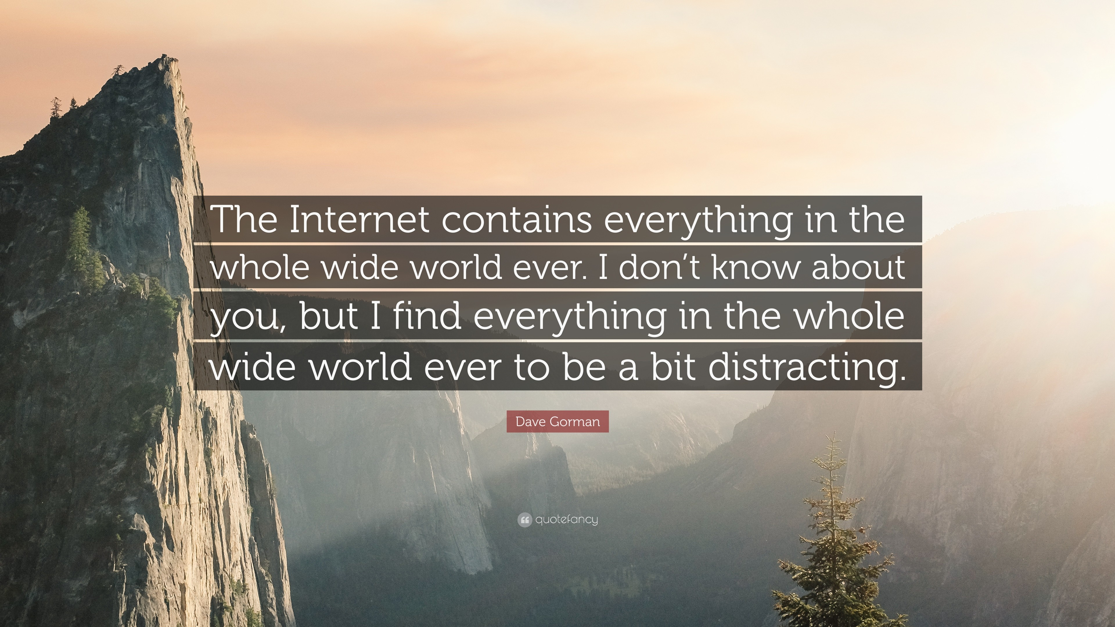"3840x2160 Dave Gorman Quote: ""The Internet contains everything in the whole wide  world ever."