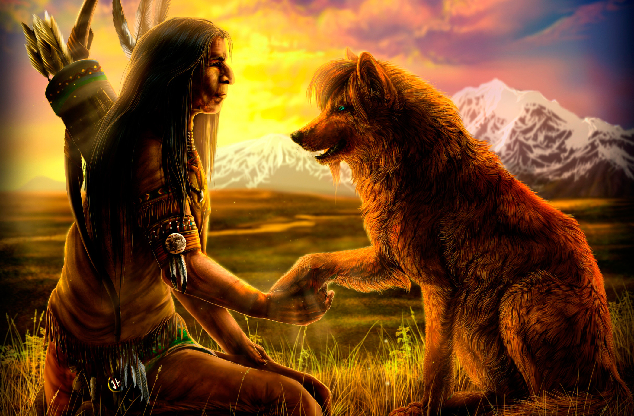 2100x1380 native american wolf art, Native with Wolf wallpaper - ForWallpaper .