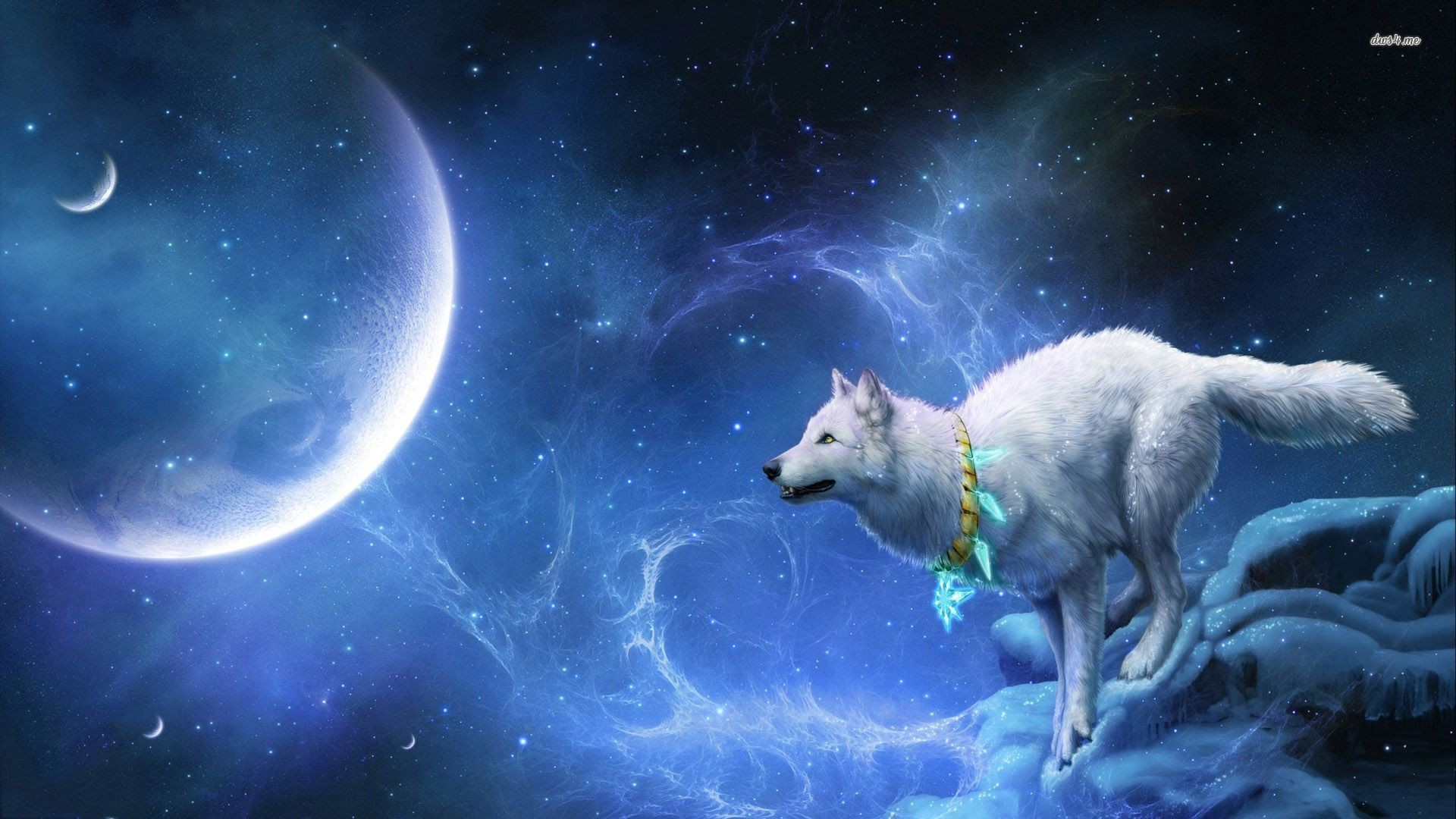 1920x1080 Moon Painting Stag Dark Blue Wallpaper At Fantasy Wallpapers