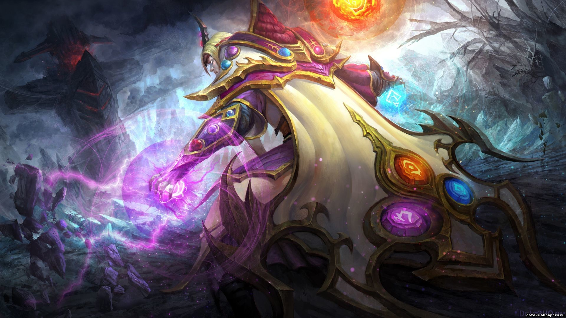 1920x1080 Preview wallpaper dota 2, carl, invoker, art, magician, cloak