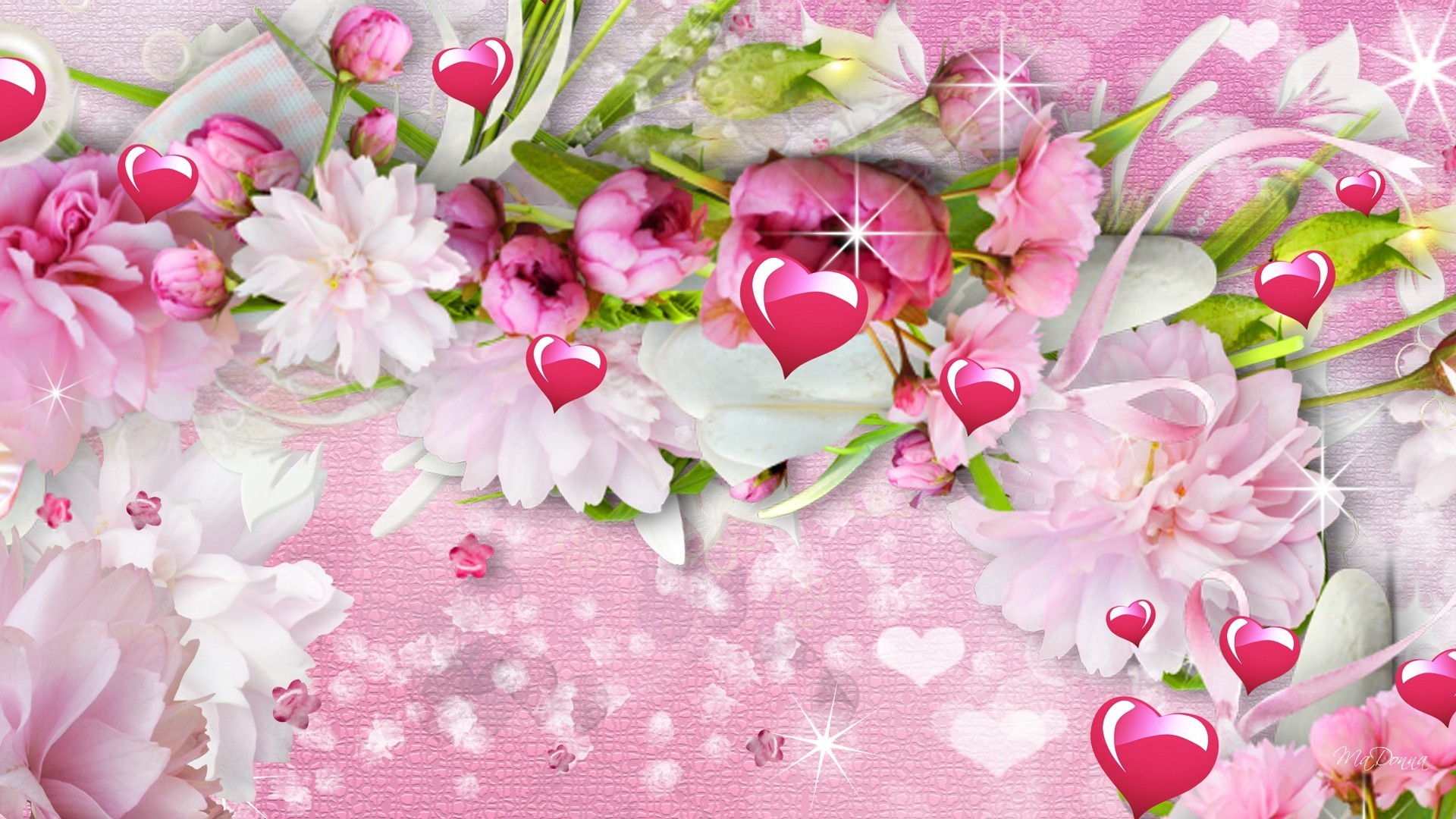 1920x1080 Peonies Tag - Flowers Spring Pink Stars Sparkle Valentines Day Hearts  Peonies Summer Jasmine Flower Wallpaper