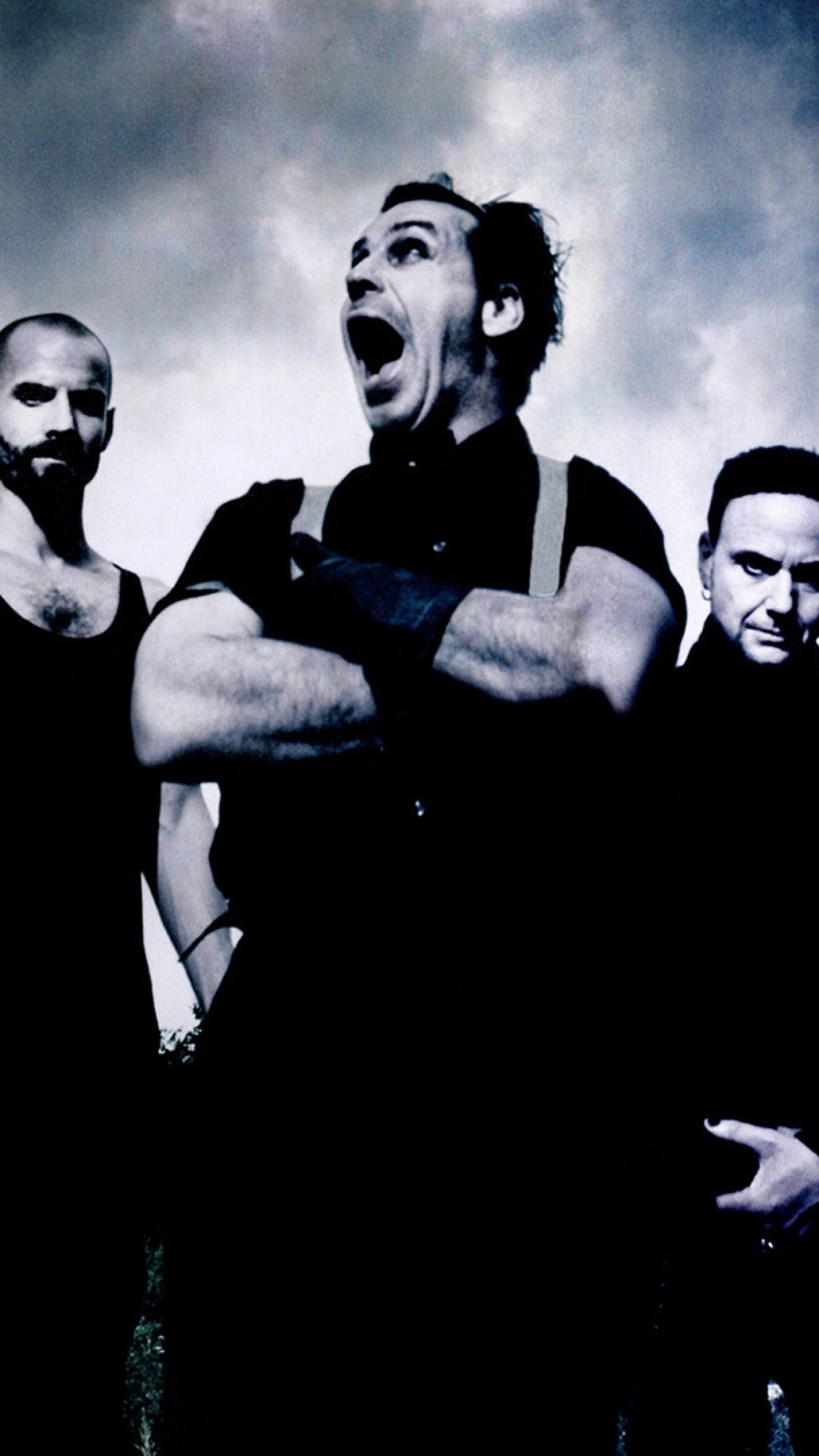 1440x2560 Preview wallpaper rammstein, scream, sky, clouds, image
