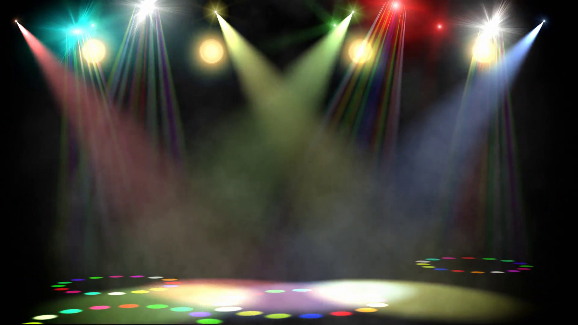 1920x1080 Swirling Colored Stage Spotlights