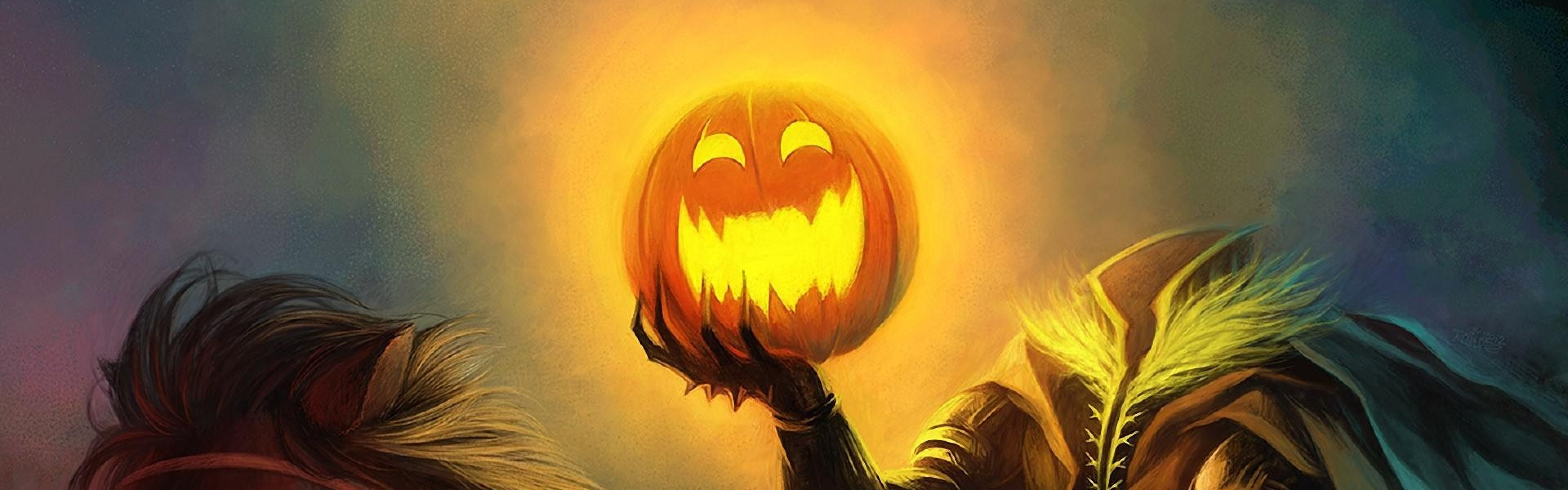 3840x1200  Wallpaper halloween, holiday, headless horseman, pumpkin, horse