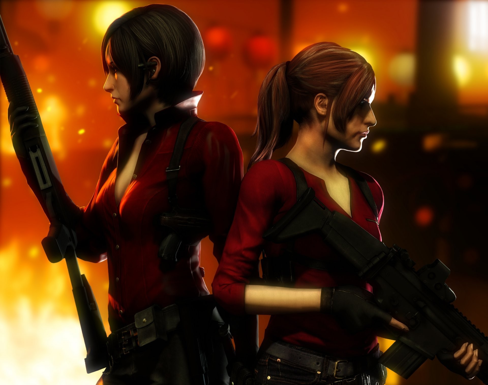 1920x1517 ada wong claire redfield resident evil capcom girls weapon