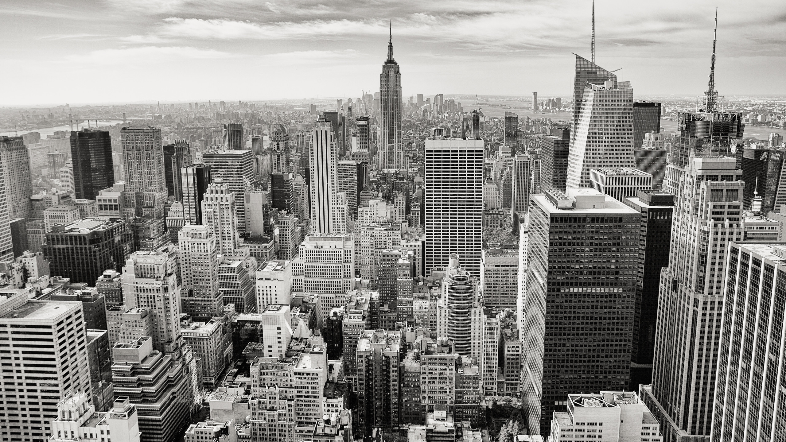 2560x1440 New york city wallpaper black and white. Free stock photo of aerial,  black-and-white, buildings