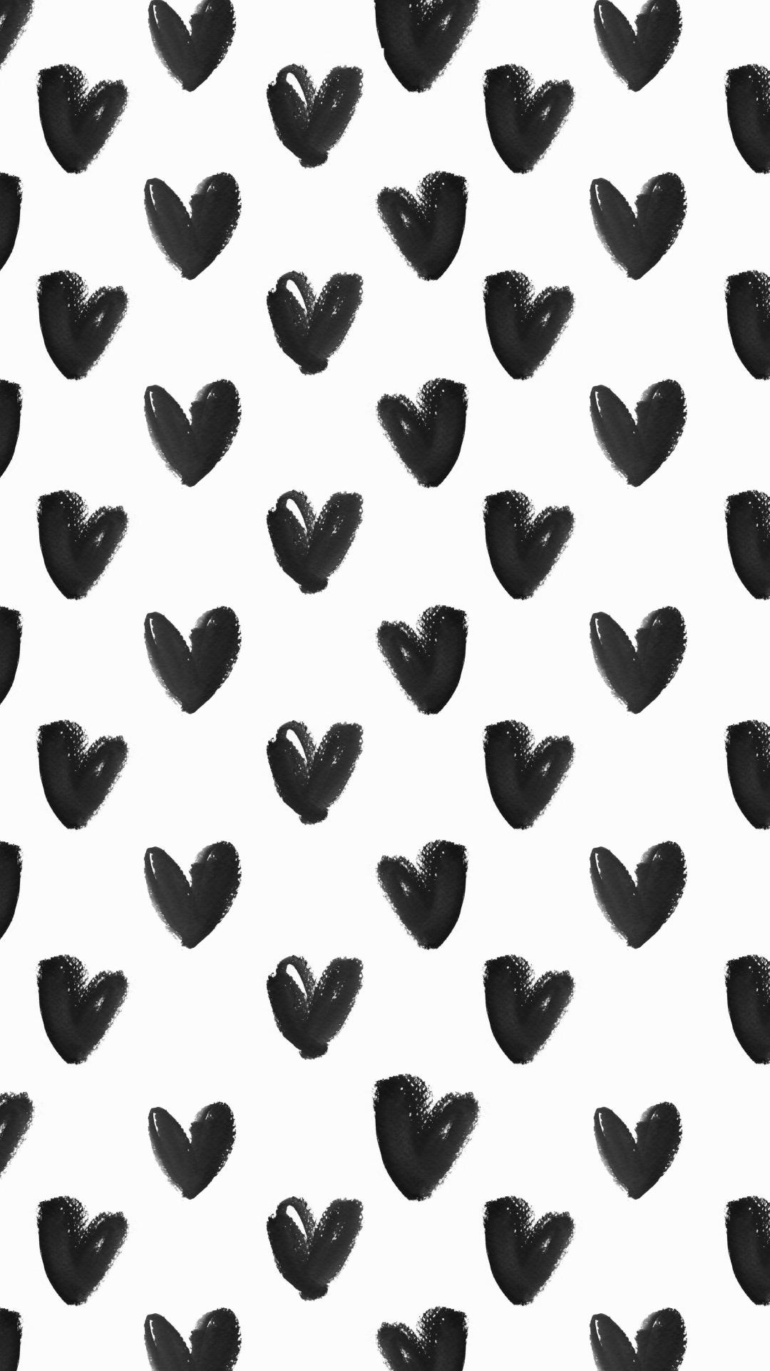 1080x1921 Black-White-watercolour-hearts-iphone-background-phone-lock-