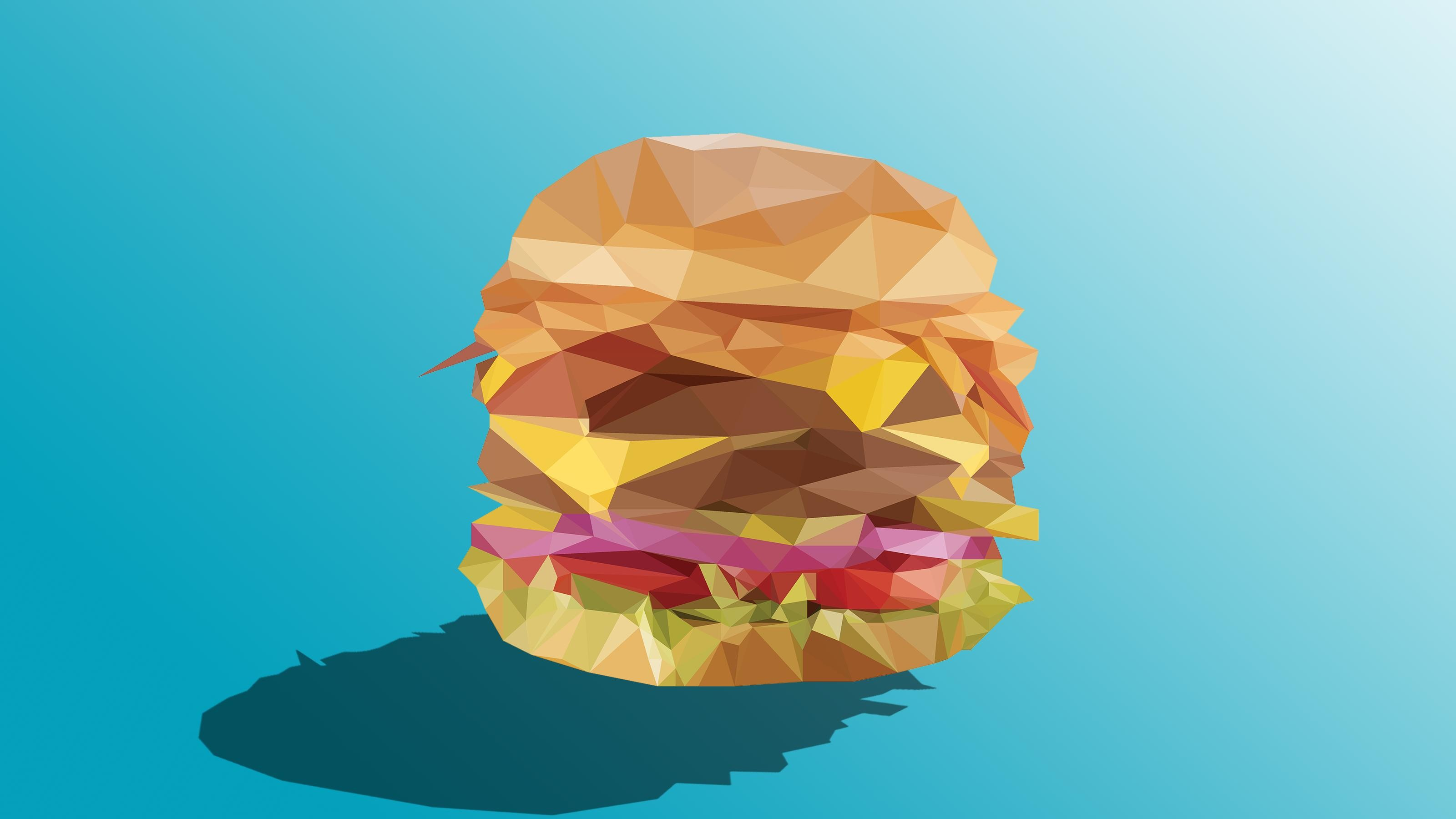 3200x1800 Low Poly Burger (3200 x 1800) ...