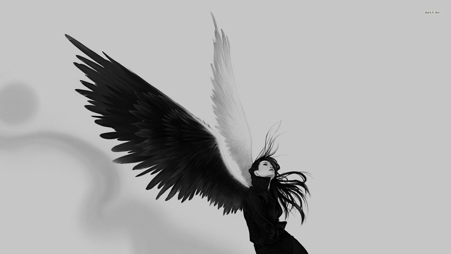 1440x2160 Angel Girl Wings Fantasy Alone Light Black White Wallpaper