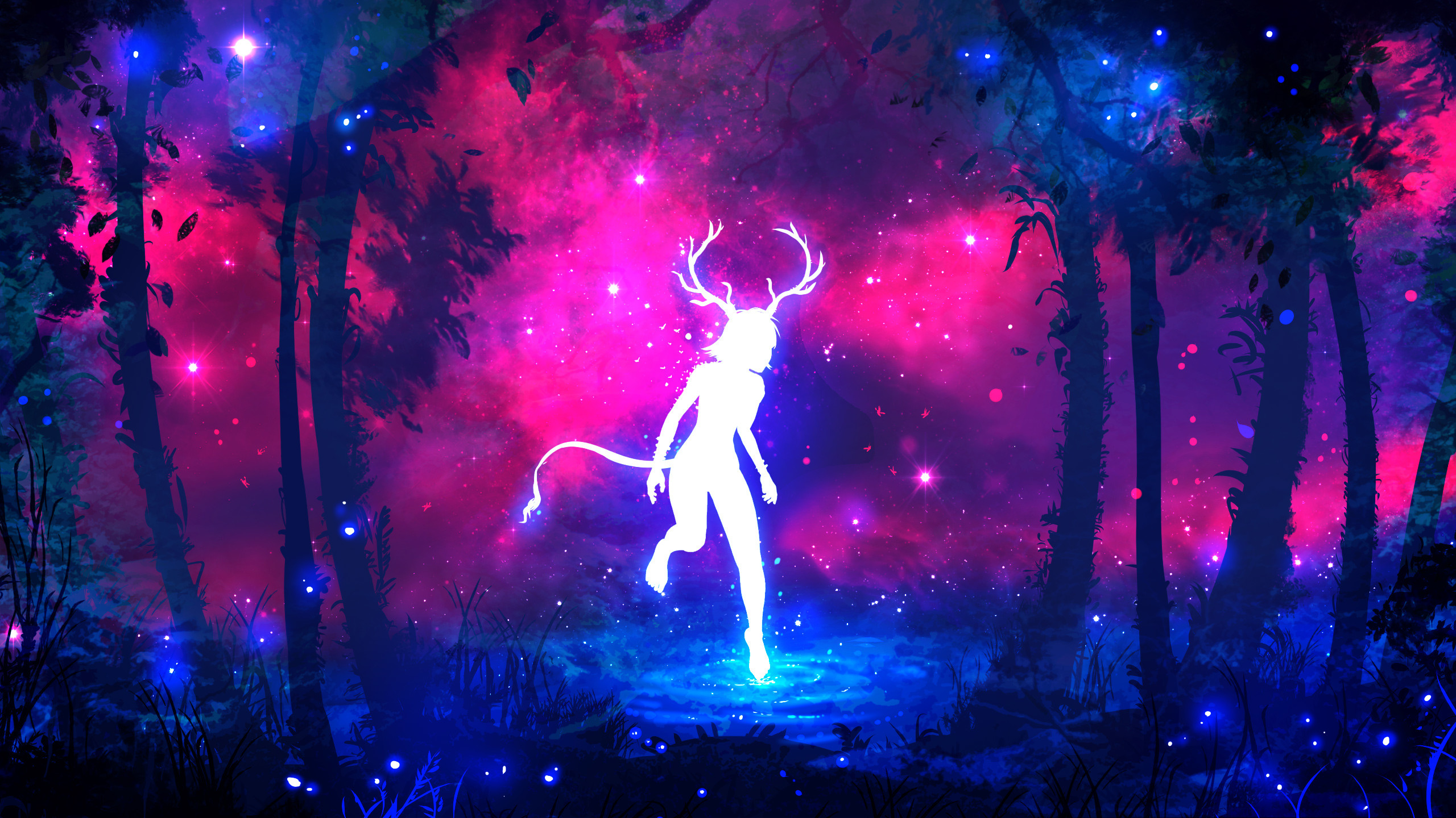 2560x1440 Jungle, Forest, Horns, Fantasy girl, Neon colors, HD