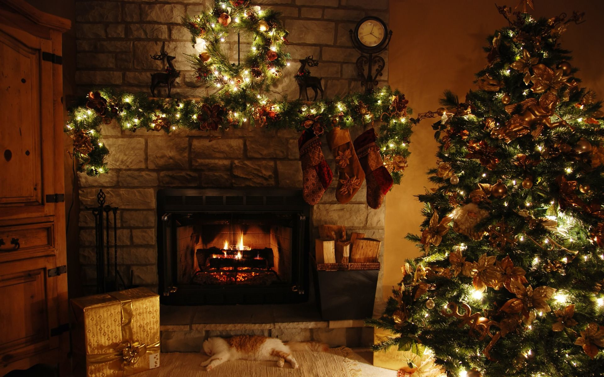 Christmas Living Room Table Background