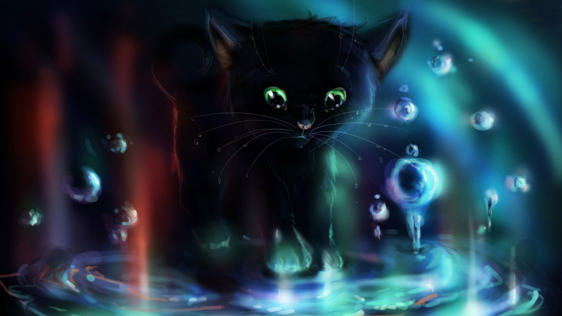1920x1080 hd pics photos attractive black cat water 2d animated cartoon hd quality  desktop background wallpaper