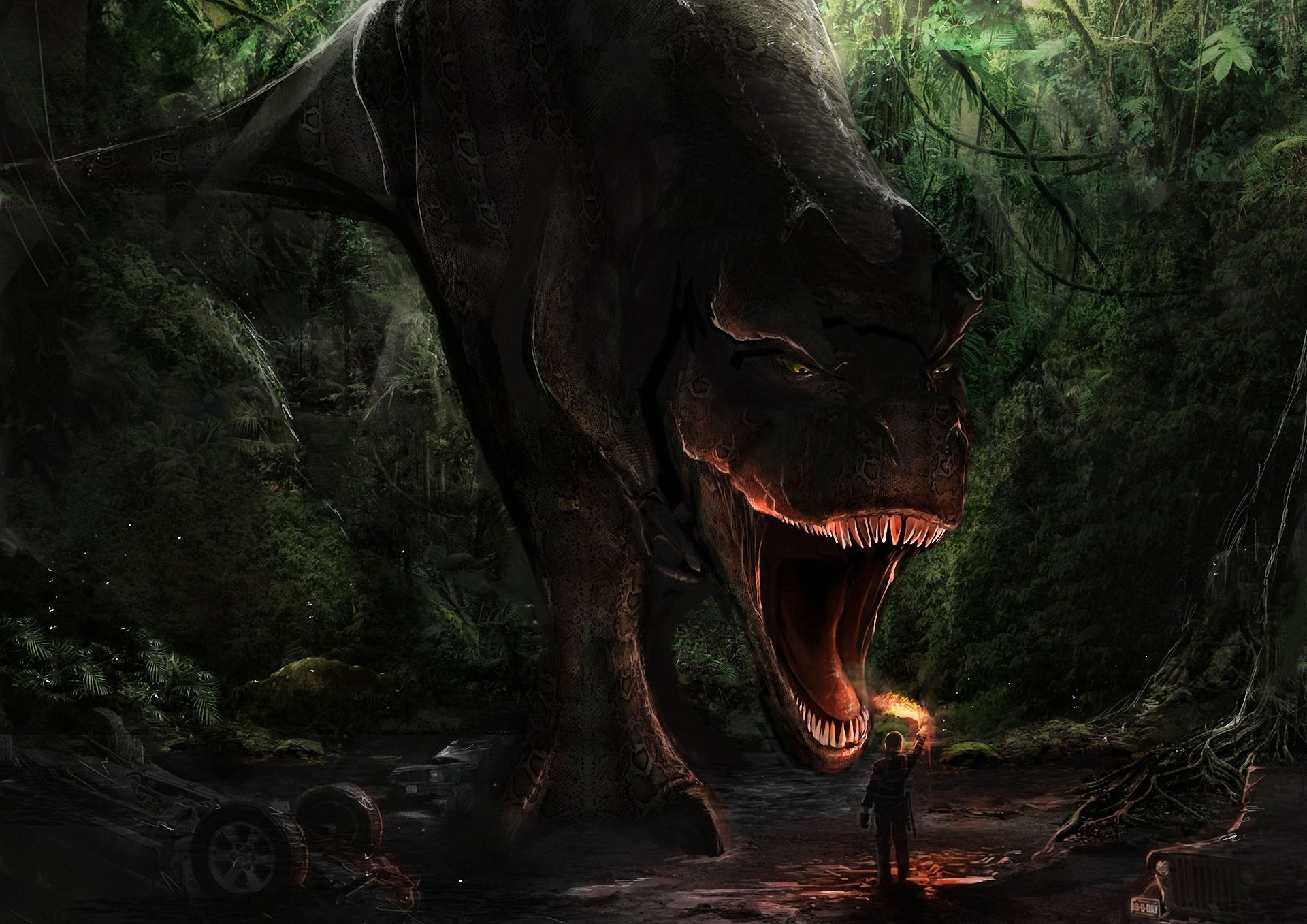 1920x1357 Forest Man T-rex Danger Art Jaws A Torch A Dinosaur Dark Monster Wallpaper  At Fantasy Wallpapers