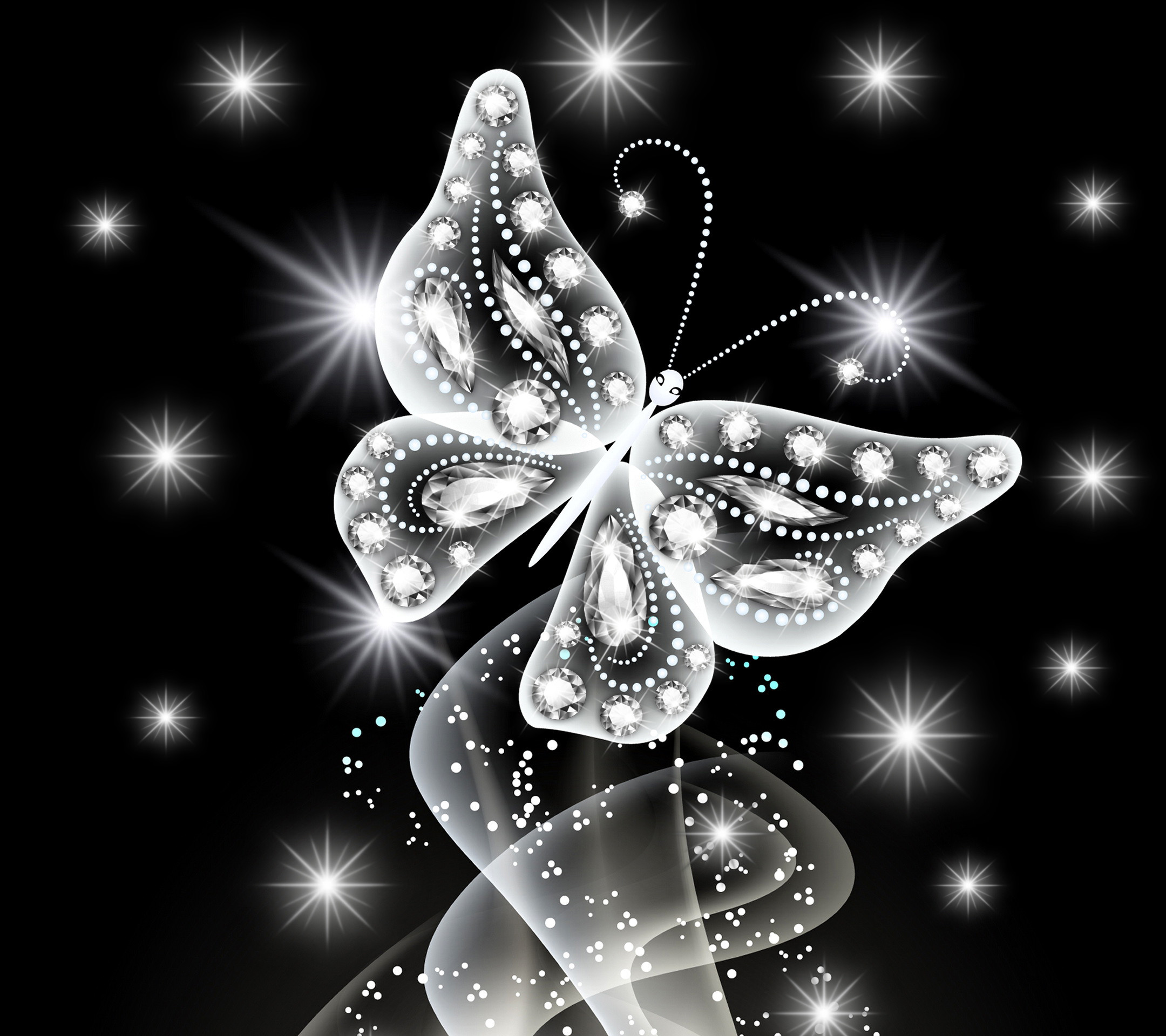2160x1920 Wallpaper neon, butterfly, abstract, white, diamonds, jem, sparkle .