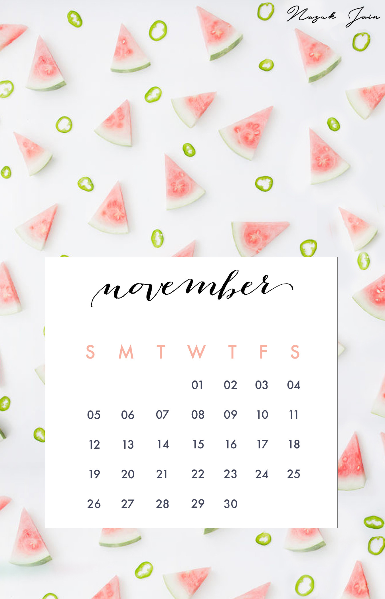 1350x2100 November   Free Calendar Printables 2017 By Nazuk Jain