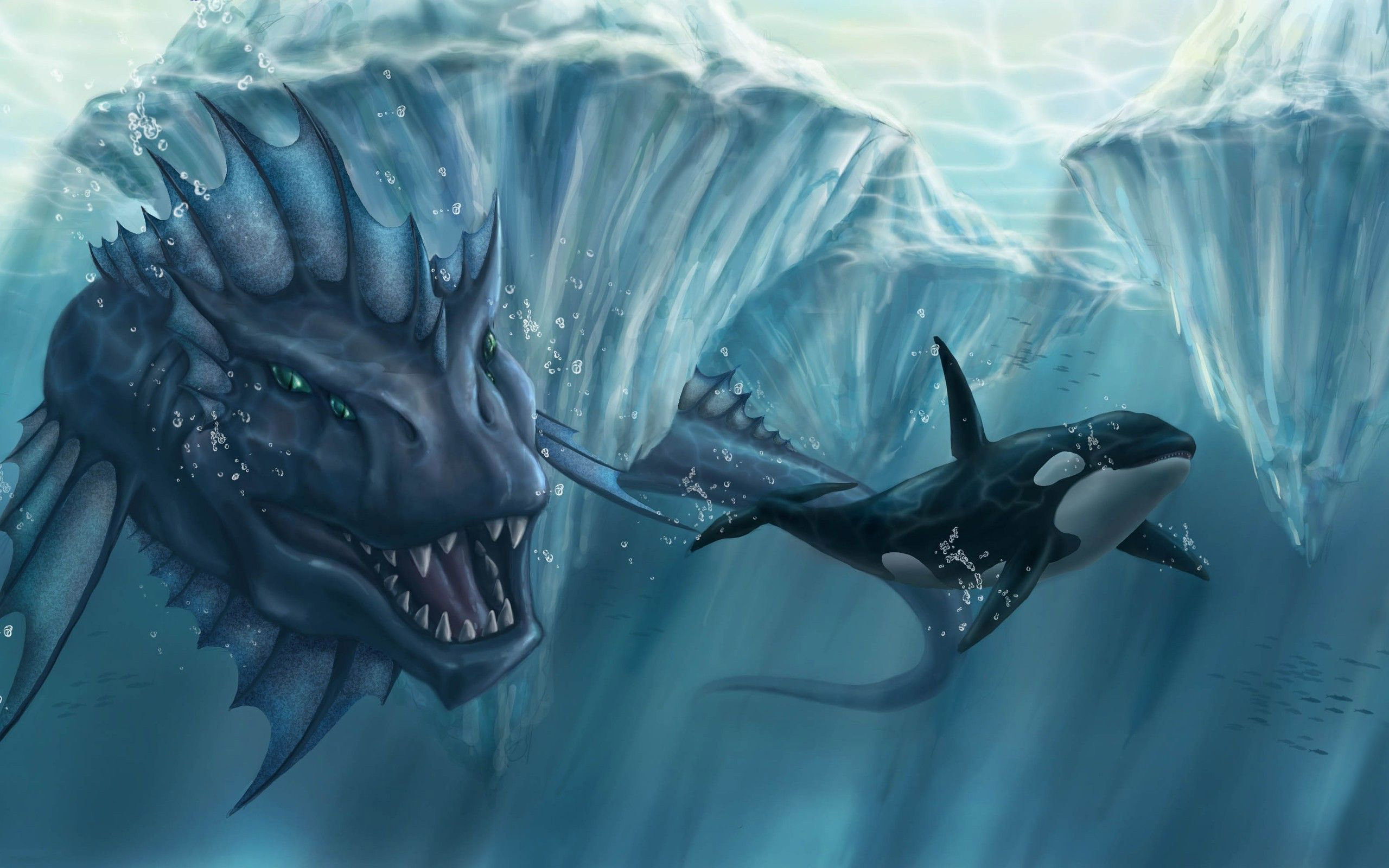 2560x1600 Sea monster chasing the killer whale, orca, fantasy,  HD .