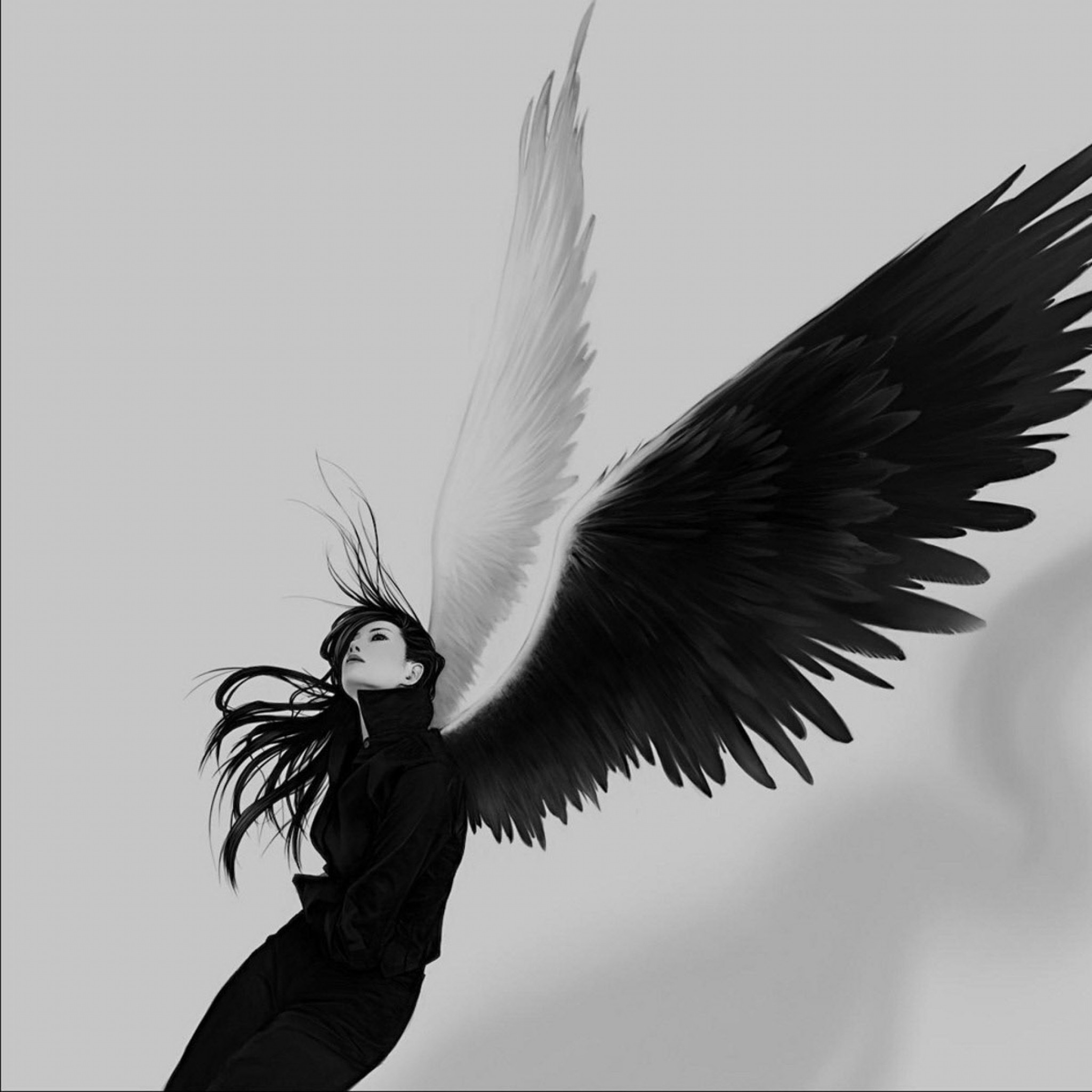 2048x2048  Wallpaper angel, wings, white, black, girl