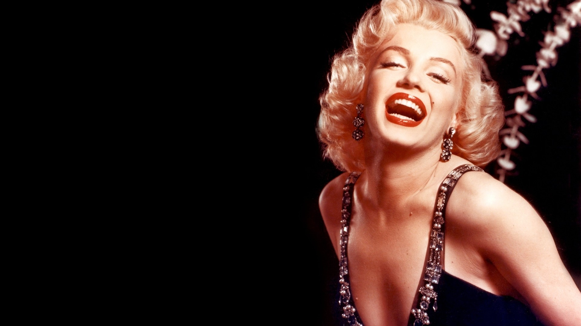 1920x1080 Preview wallpaper marilyn monroe, girl, mouth, dress, teeth
