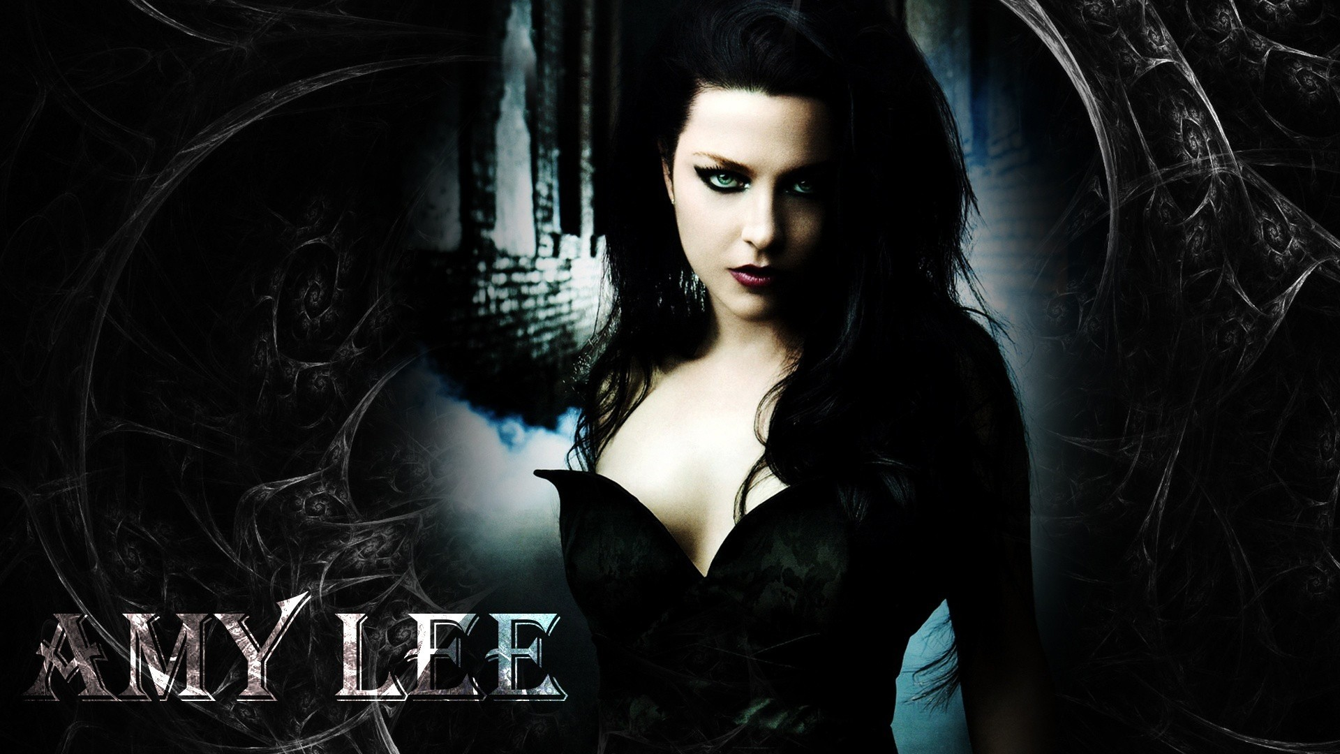 1920x1080 Preview wallpaper evanescence, girl, dress, name, graphics