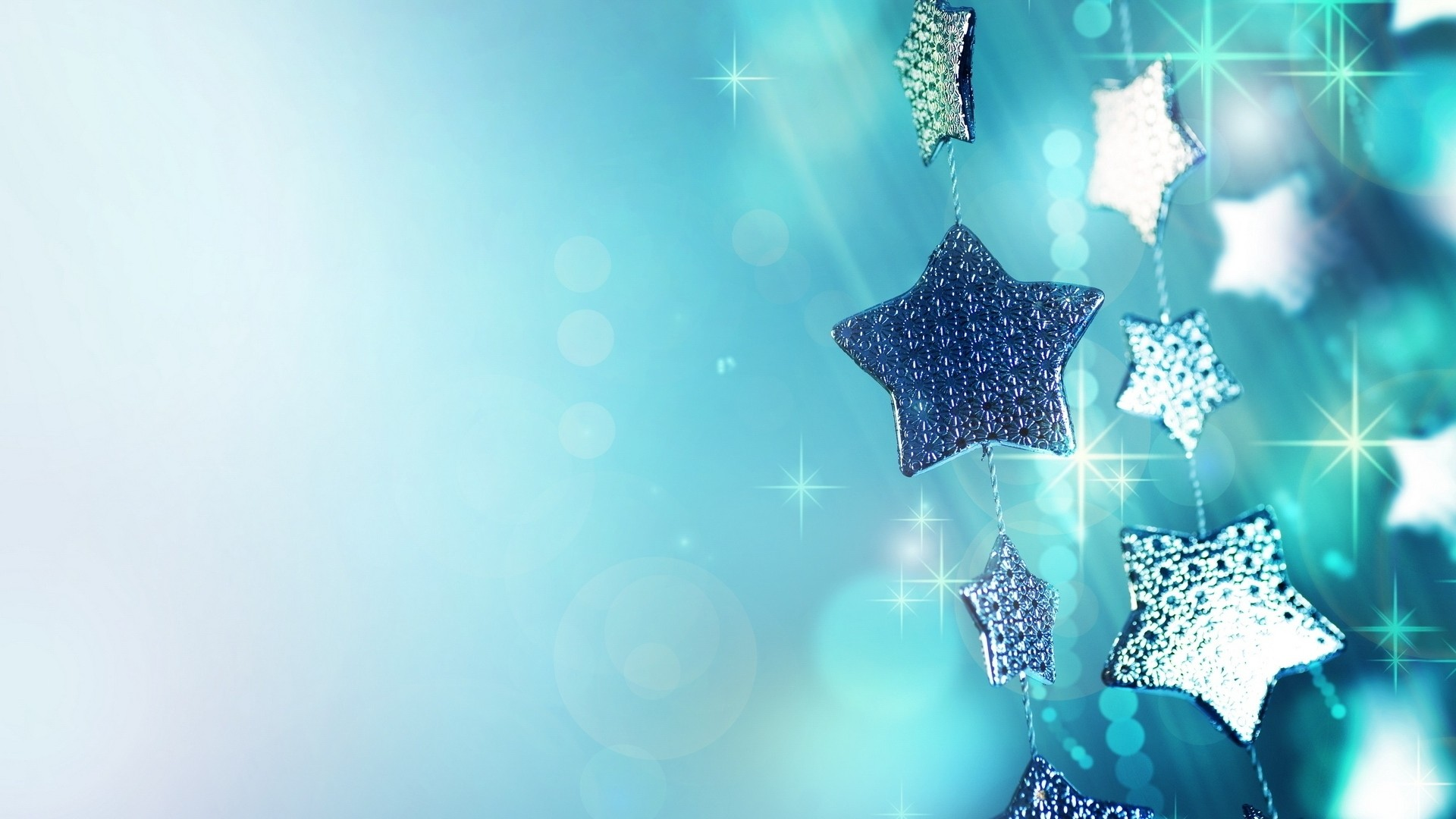1920x1080 Preview wallpaper glitter, garland, blue, christmas ornaments, stars,  sparks, macro