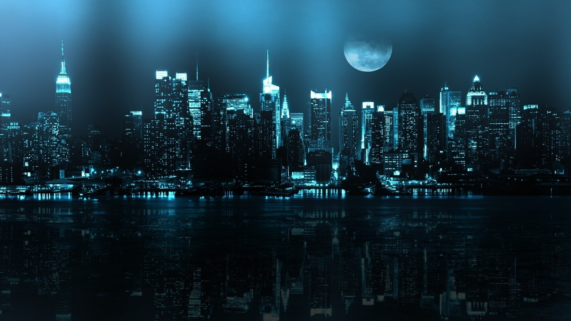 1920x1080 Blue cityscape HD Wallpaper