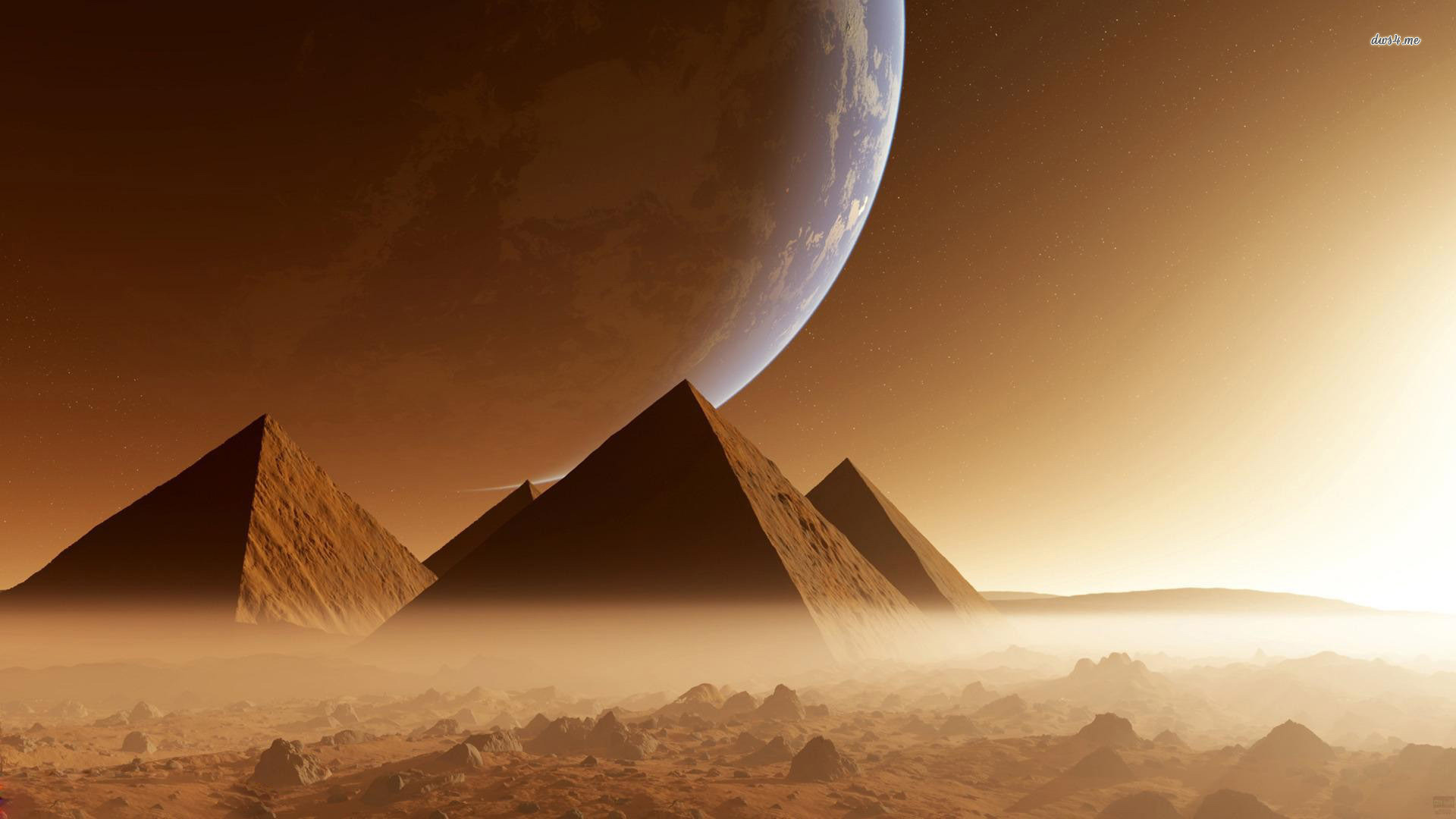 1920x1080 Pyramids on alien planet wallpaper 773919