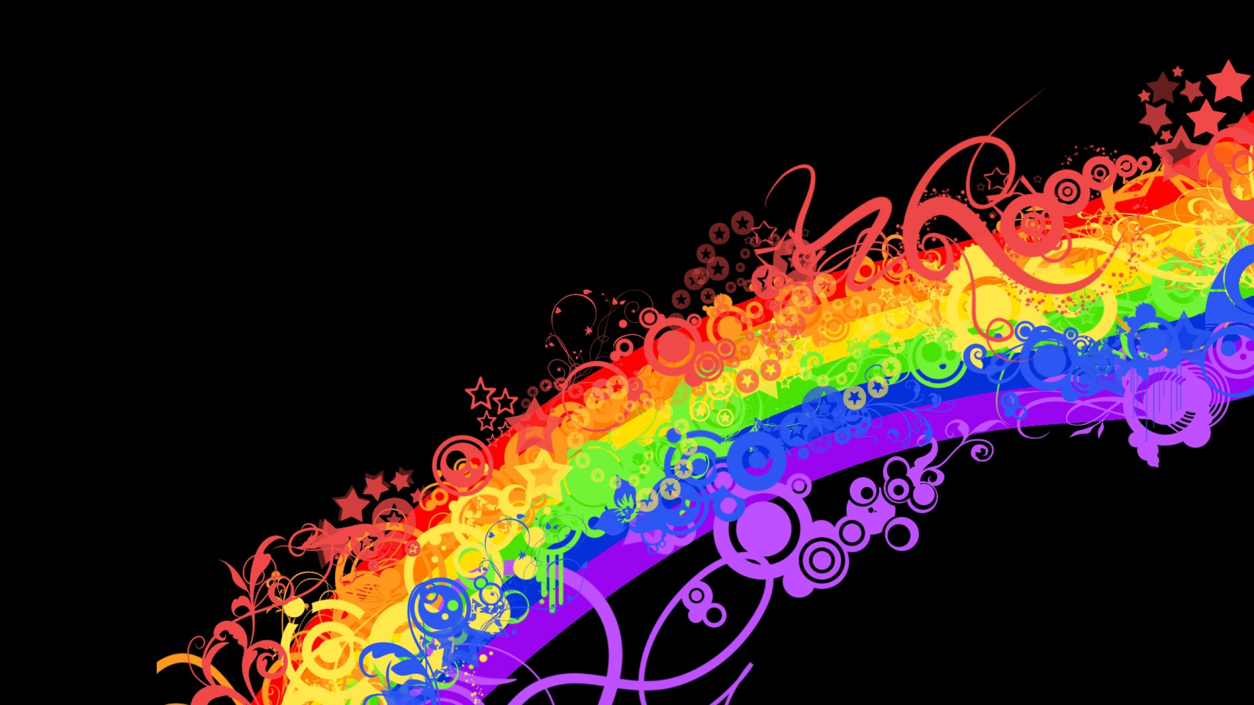 2560x1440 Preview wallpaper rainbow, colorful, background, lines, patterns