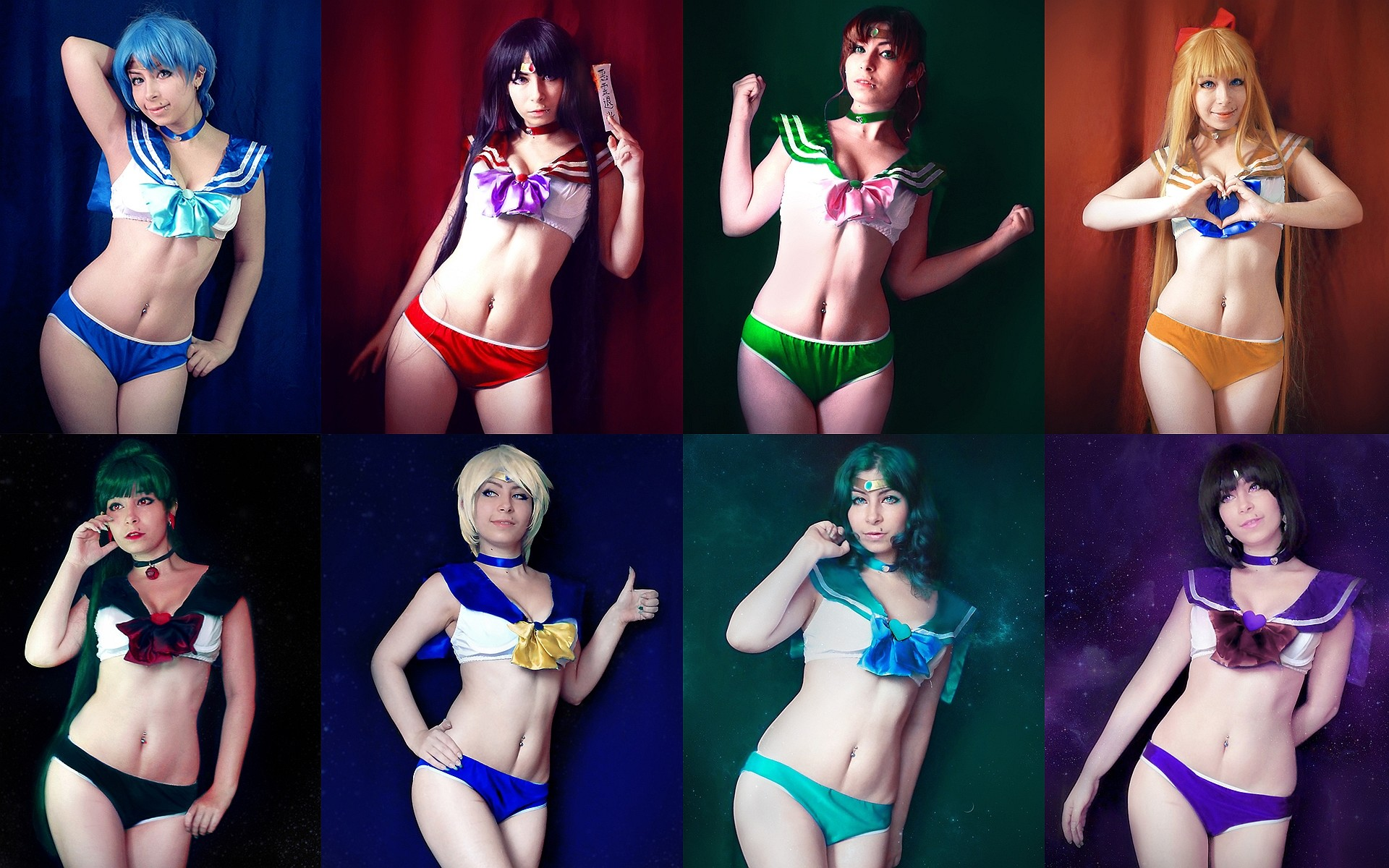 1920x1200 1920x1080 HD wallpaper of a Sailors Mercury, Mars, Jupiter, Venus, Pluto,  Uranus, Neptune and Saturn cosplay from the Sailor Moon anime series by  Mary ...