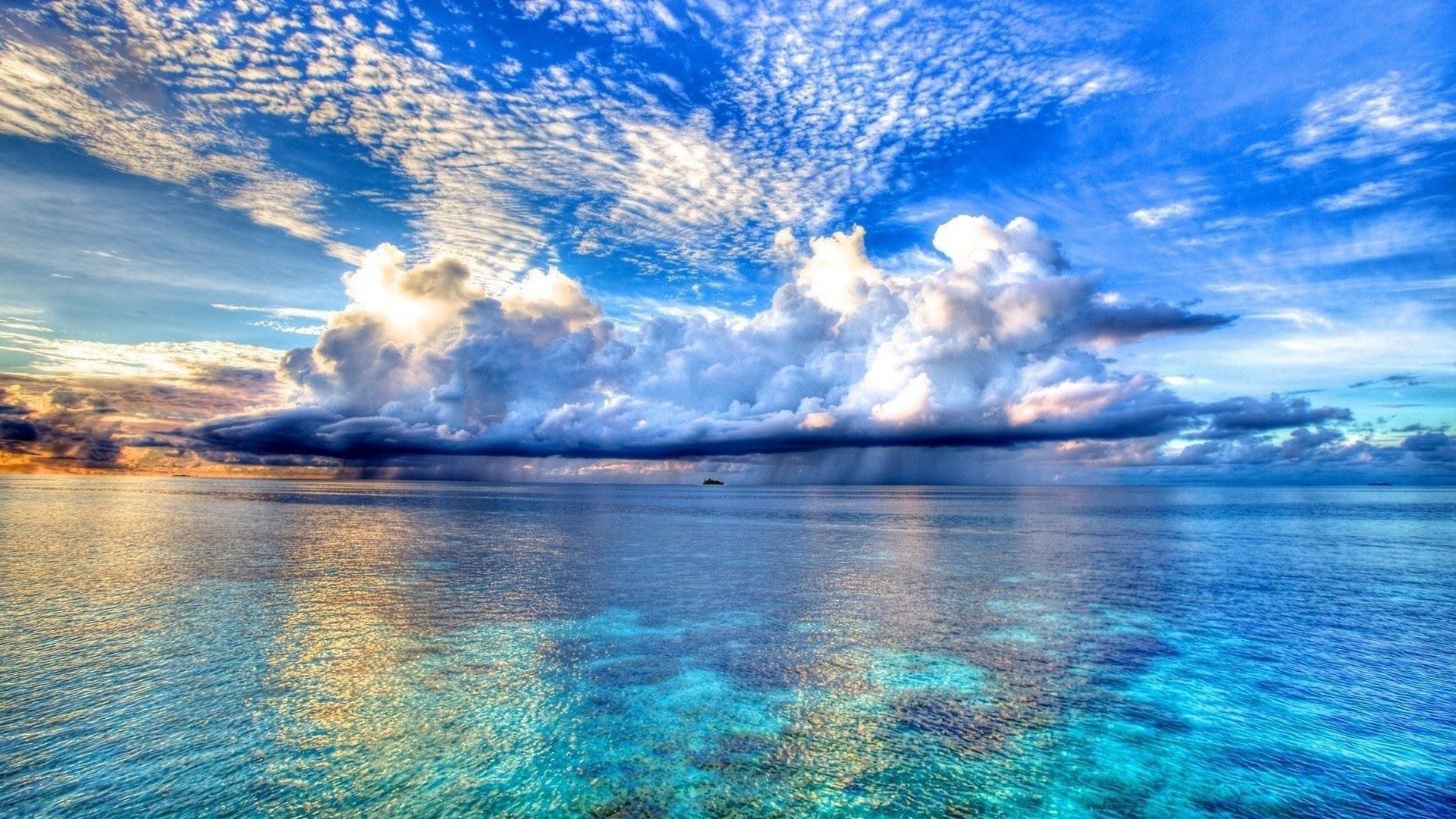 1920x1080 Preview Wallpaper Beach Tropics Sea Sand Palm Trees Clouds