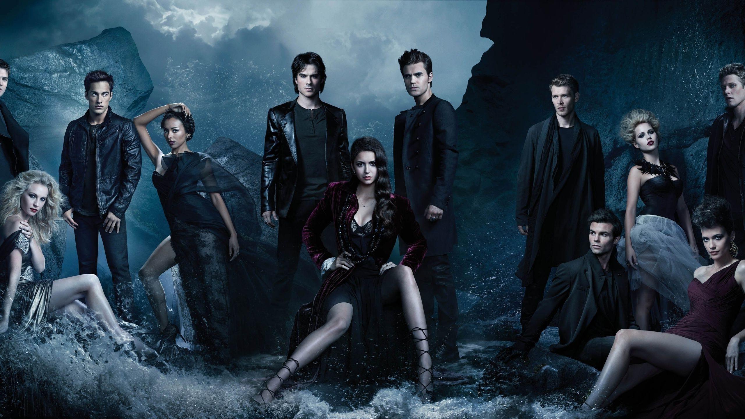 2560x1440 The Vampire Diaries, Elena Gilbert, Paul Wesley, Ian Somerhalder, Stefan Salvatore
