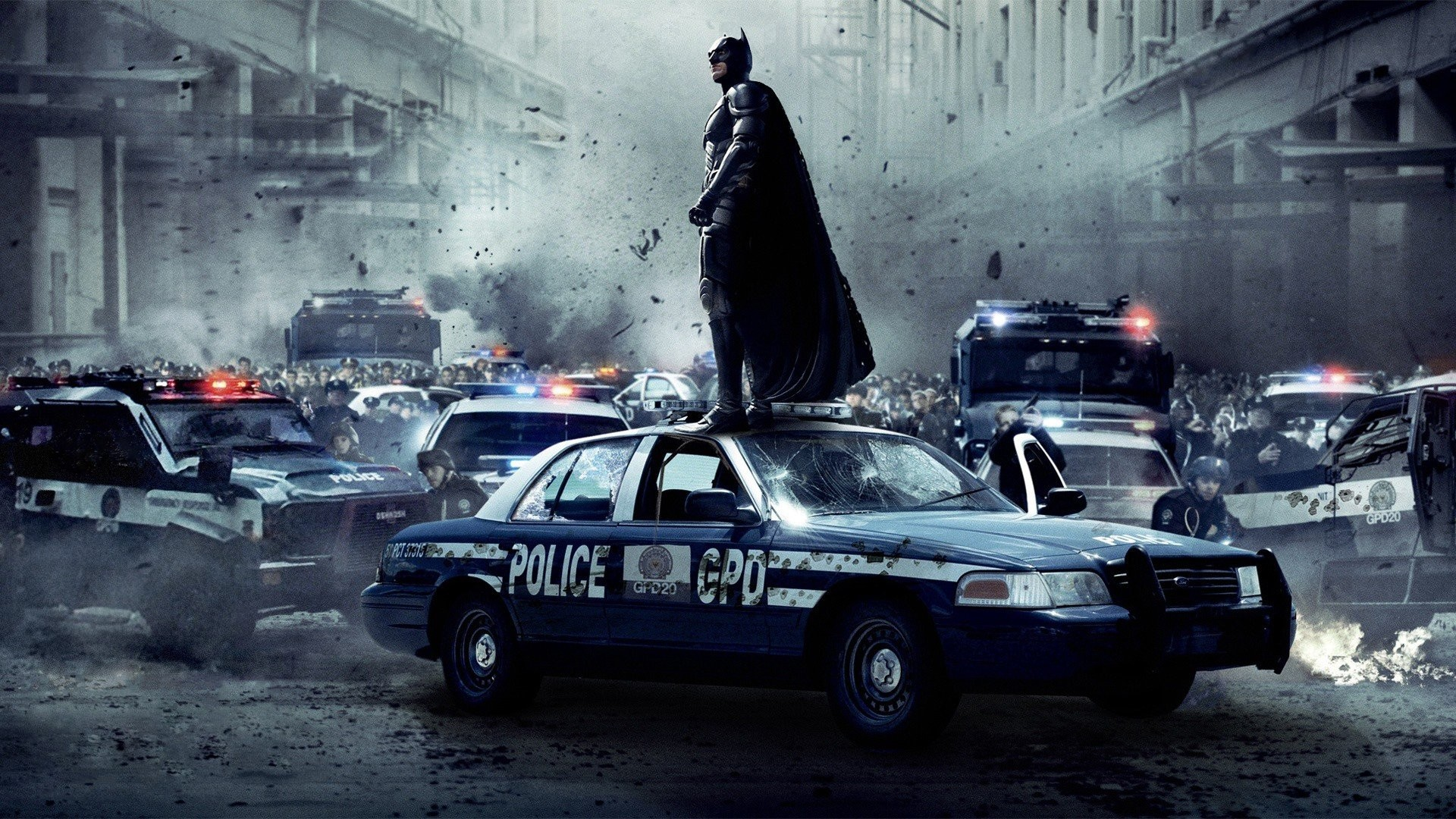 1920x1080 Batman The Dark Knight Rises Cars Explosions Movies Police Cruiser