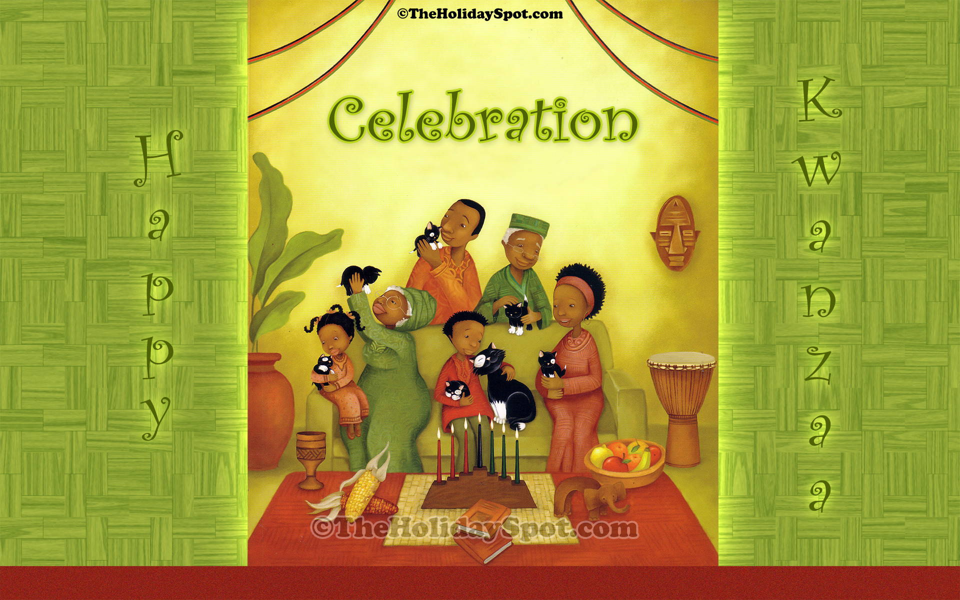 1920x1200 resolution desktop illustration of African-American festival, Kwanzaa .