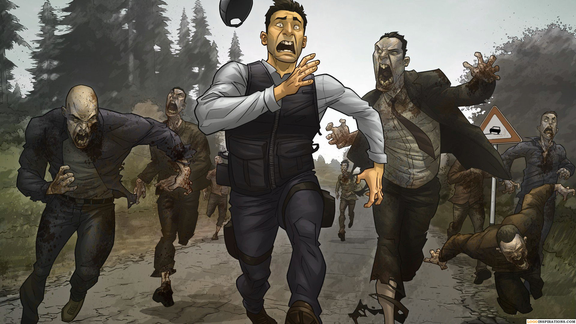 1920x1080 People Running HD Zombie Apocalypse Wallpaper