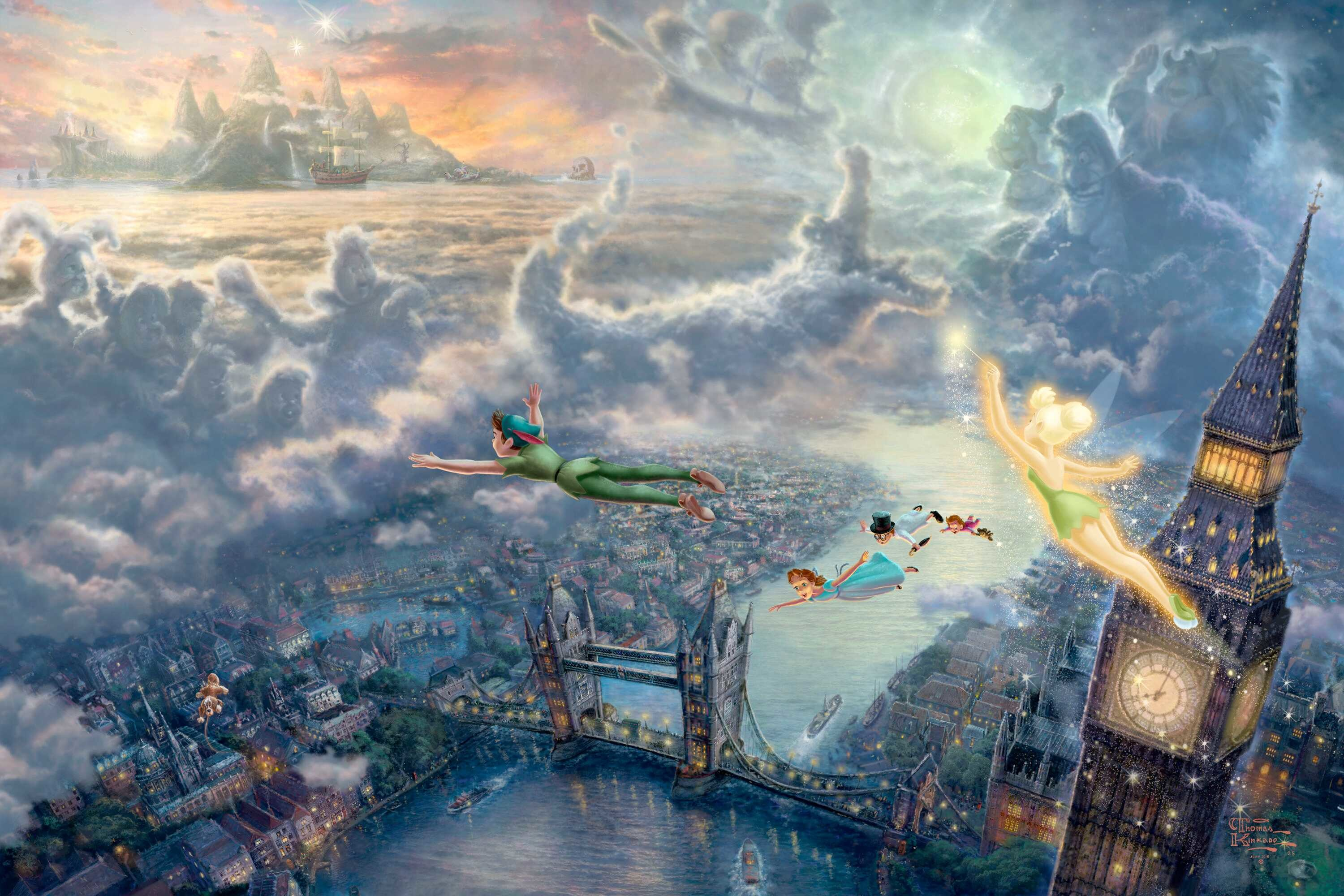 3000x2000 Tinker Bell And Peter Pan Fly To Neverland - Thomas Kinkade