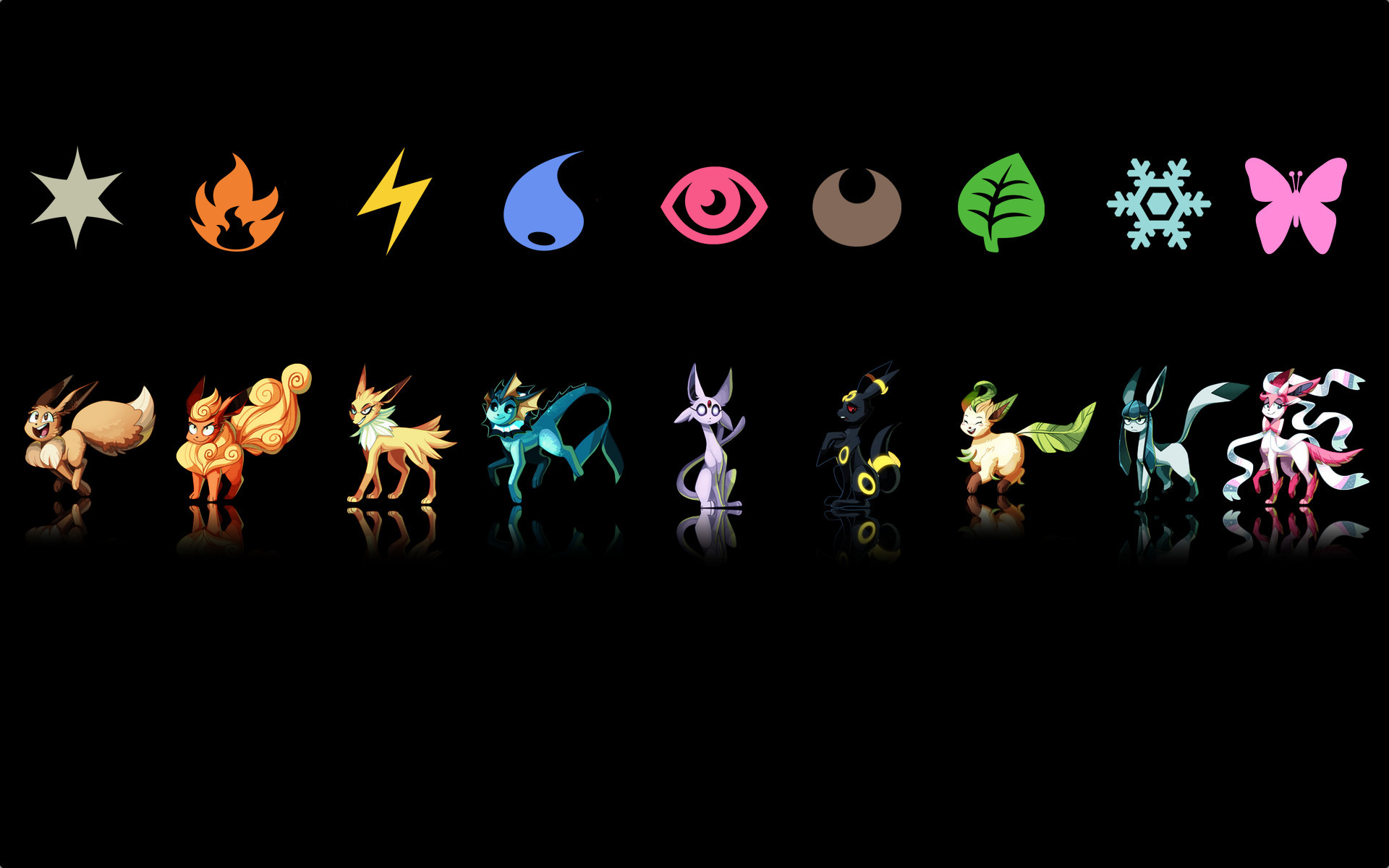 1920x1200 Wallpapers For > Eevee Evolutions With Sylveon Wallpaper