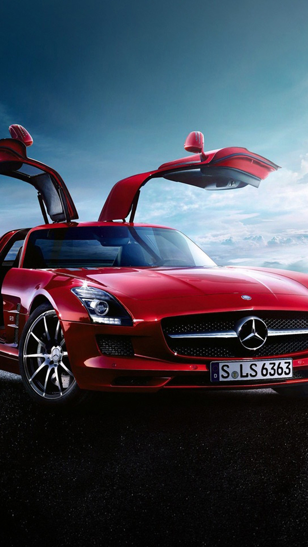 1080x1920 Mercedes-Benz SLS AMG Gullwing Red HD Wallpaper iPhone 6 plus