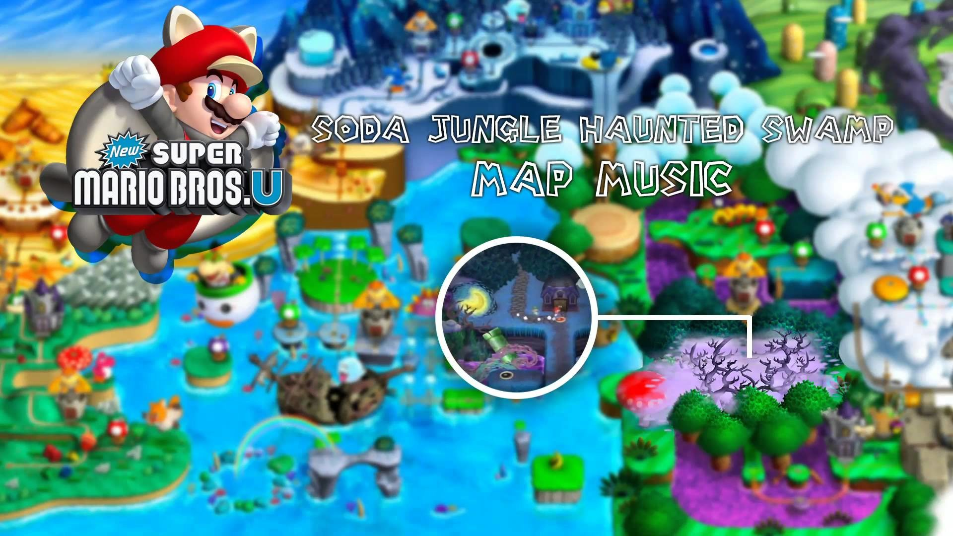 1920x1080 New Super Mario Bros. U - Soda Jungle Haunted Swamp Map Music - YouTube