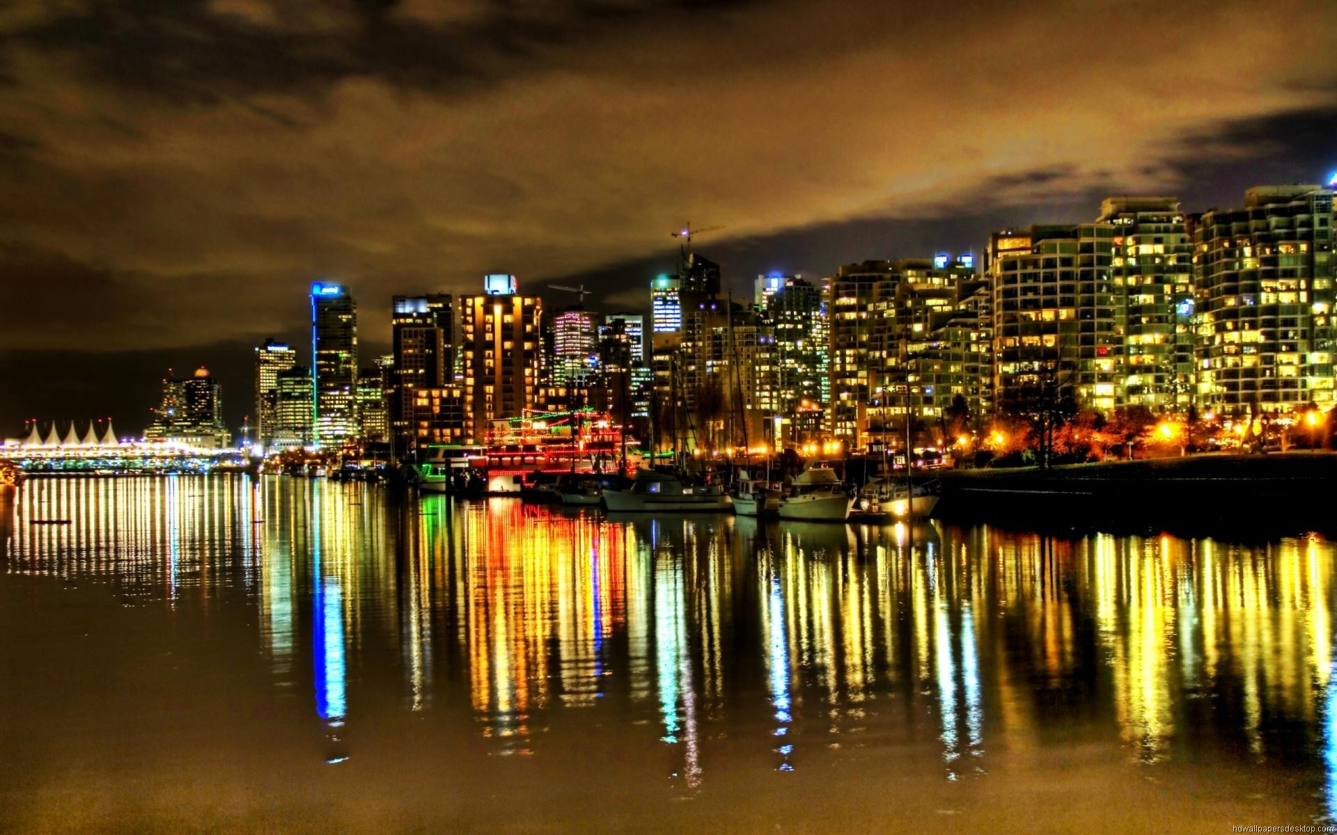 1920x1200 Vancouver Night Skyline Picture Wallpaper #2864 Wallpaper
