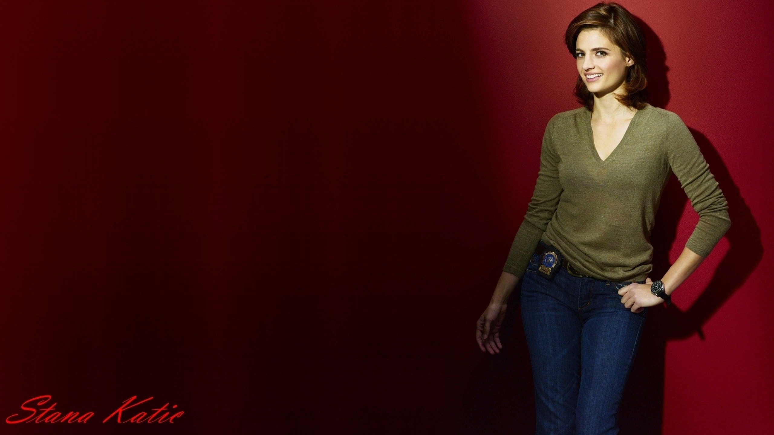 2560x1440 brunettes women smiling stana katic red background castle tv series kate  beckett 1920x1080 wallpa Art HD