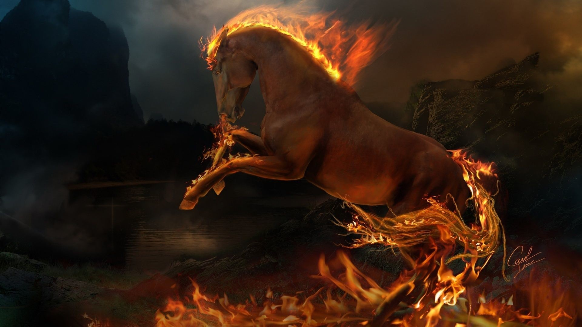 1920x1080 Horse Jumping, Fire, 1920x1080 HD Wallpaper And FREE Stock Photo