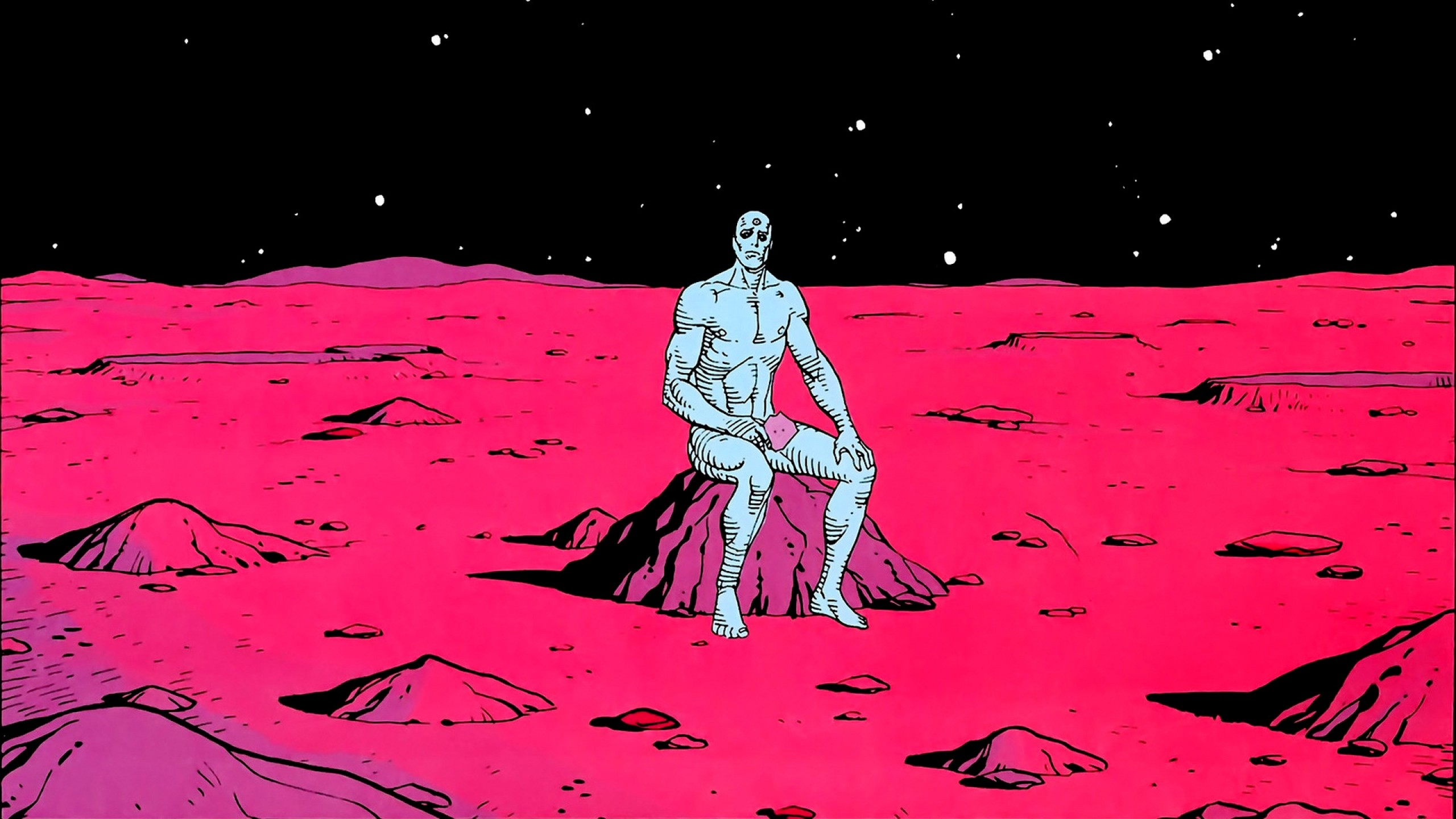 2560x1440 Preview wallpaper silver surfer, superhero, drawing, marvel, alone