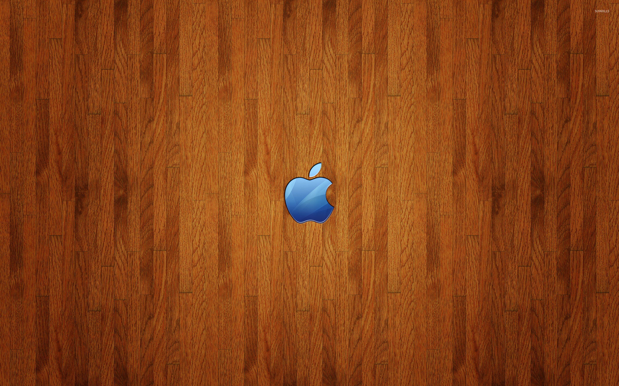 2560x1600 Blue Apple logo on wood wallpaper