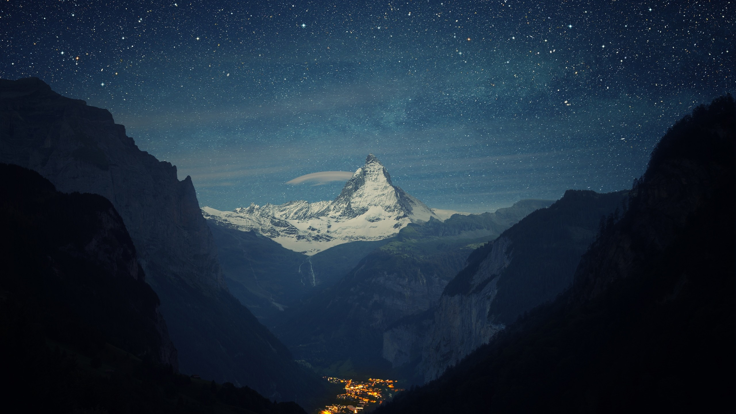 2560x1440 Preview wallpaper switzerland, alps, mountains, night, beautiful landscape