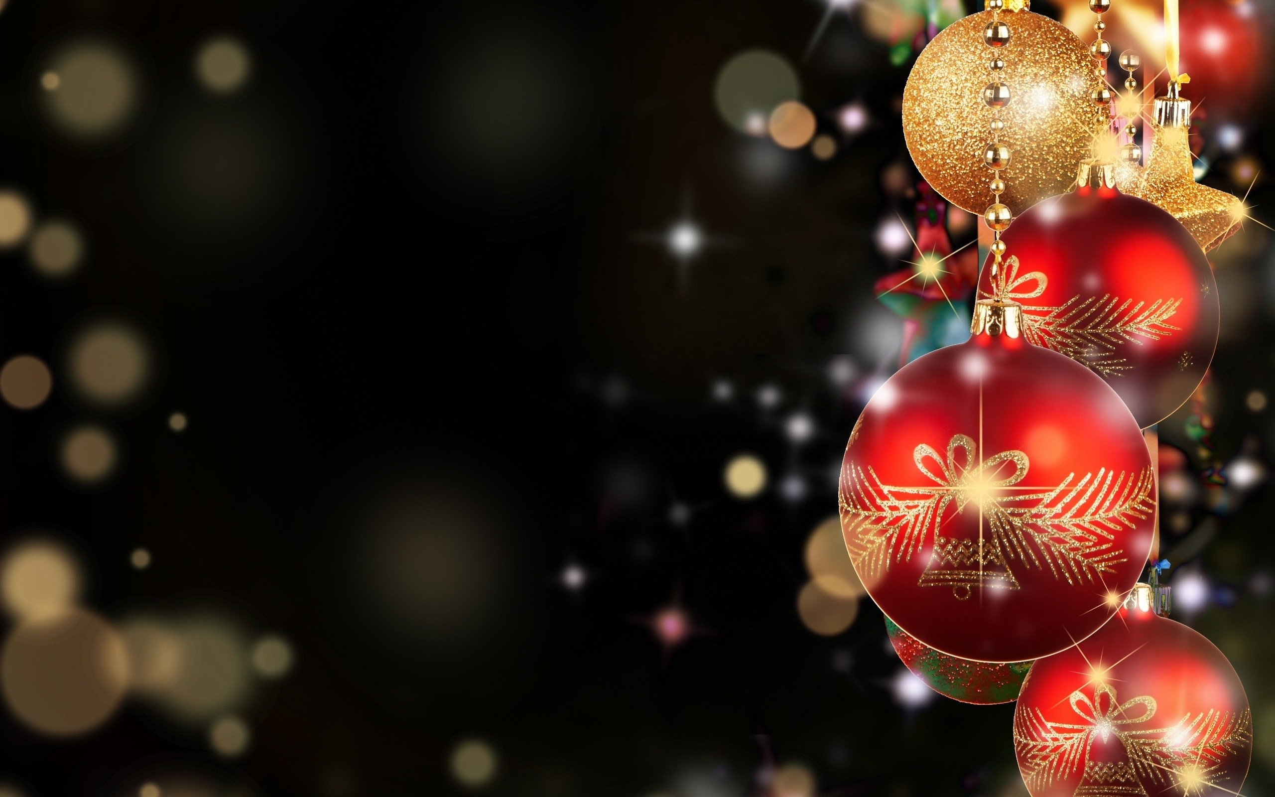 2560x1600 ... Christmas baubles HD Wallpaper