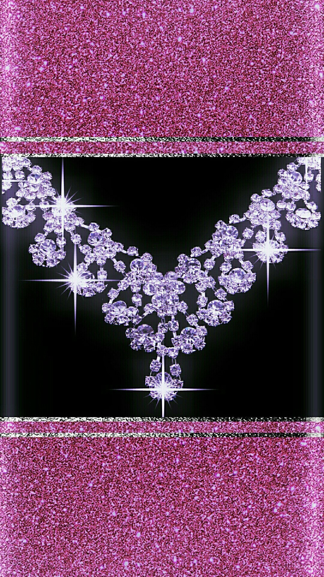 Heart Wallpaper Abstract 3D 1080x1920 Black And Pink Diamonds