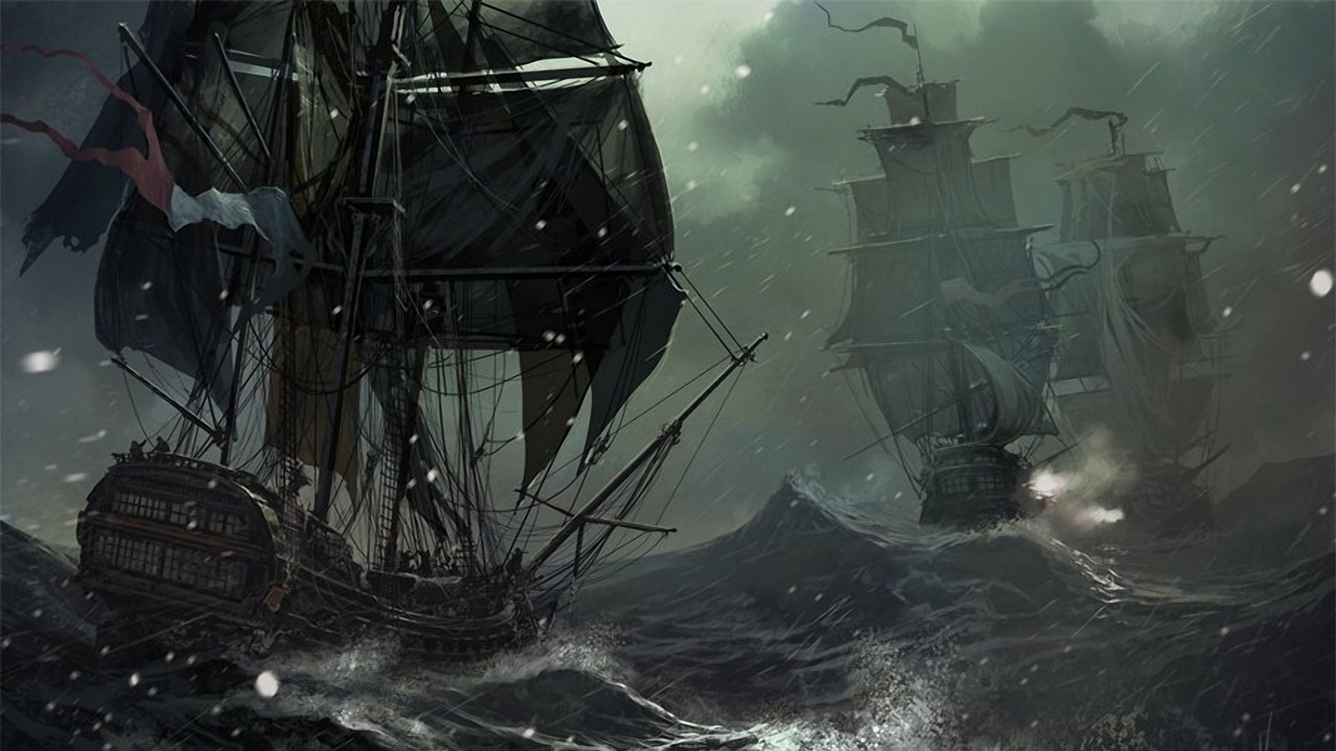 1920x1080 Wallpapers :: water, ocean, snow, rain, storm, ships, 2D